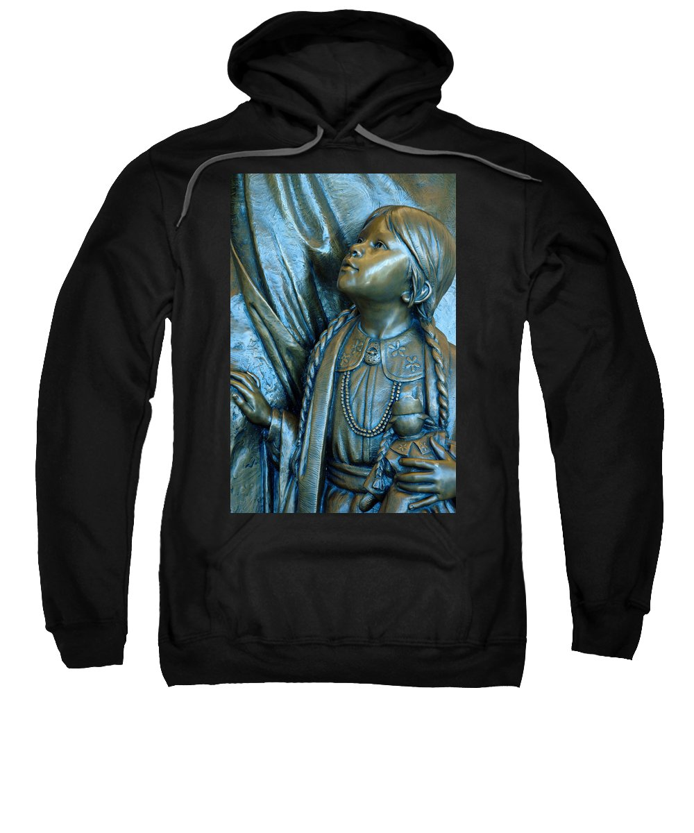 Usa Sweatshirt featuring the photograph Bronze Onieda Indian Girl by LeeAnn McLaneGoetz McLaneGoetzStudioLLCcom