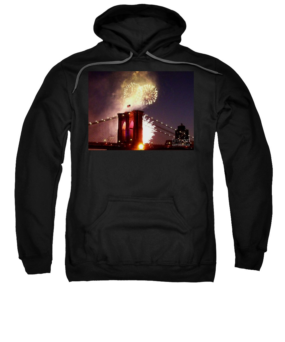 Brooklyn-bridge Sweatshirt featuring the photograph Brooklyn Bridge Celebration by Kendall Eutemey