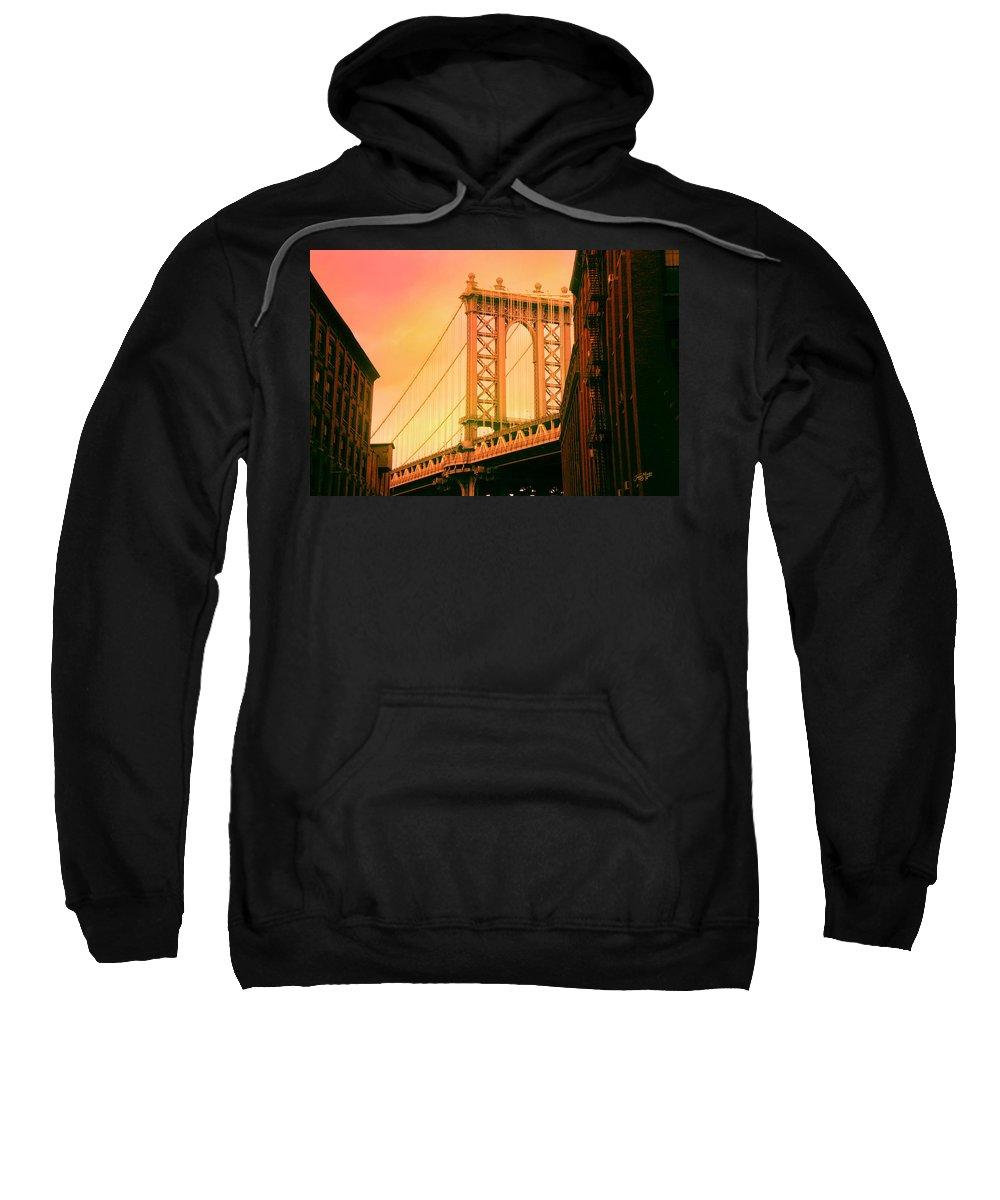 Suspension Bridge Sweatshirt featuring the digital art Brooklyn Bridge by James Mingo