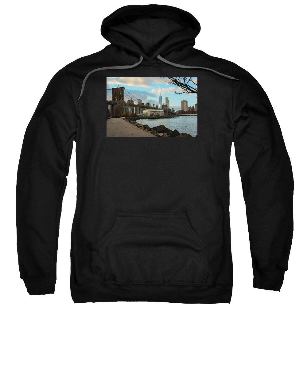Sweatshirt featuring the photograph Brooklyn Bridge Park by Christian Frazier
