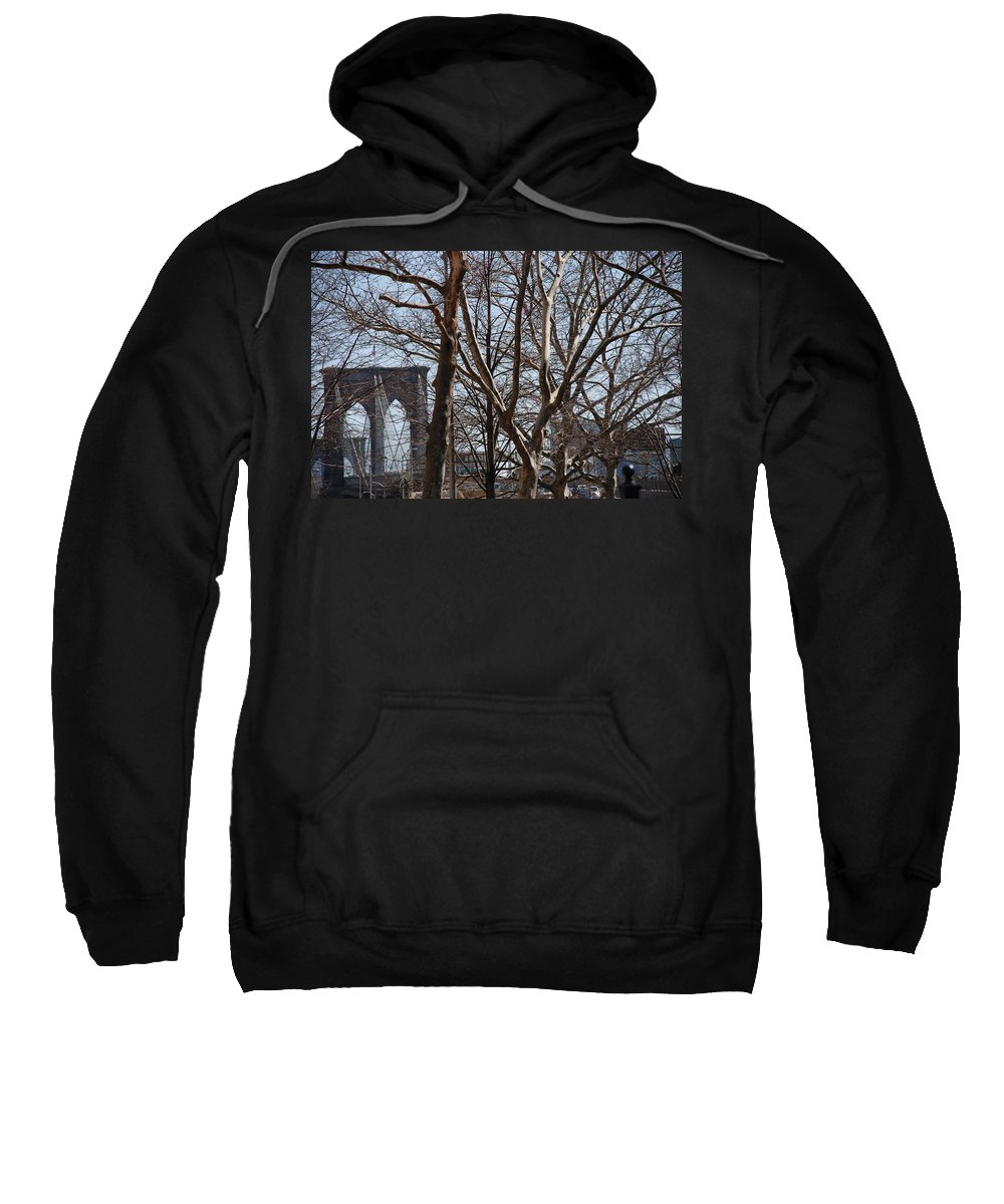 Architecture Sweatshirt featuring the photograph Brooklyn Bridge Thru The Trees by Rob Hans