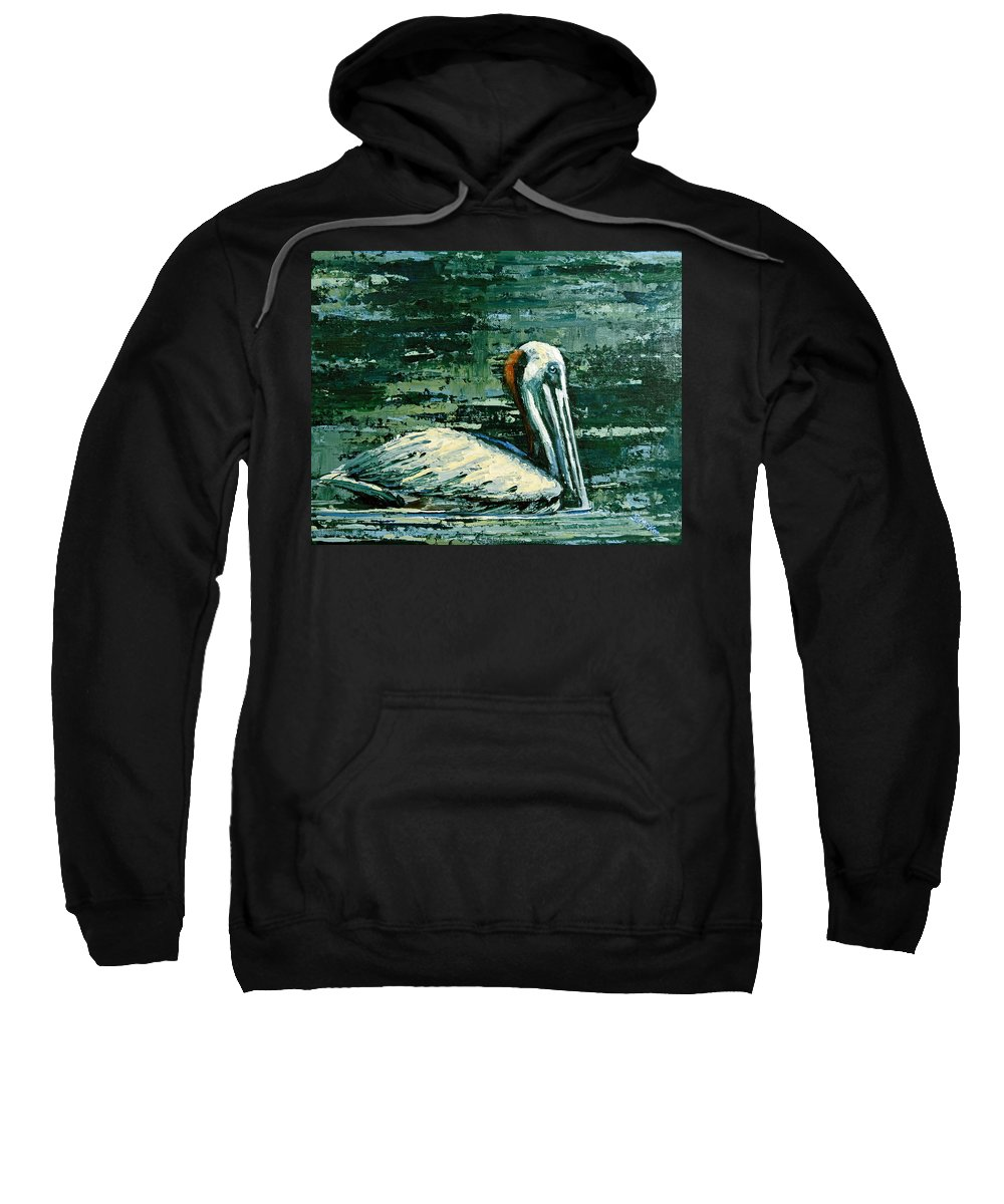 Acrylic Sweatshirt featuring the painting Brownie Swimming In Green Water by Suzanne McKee