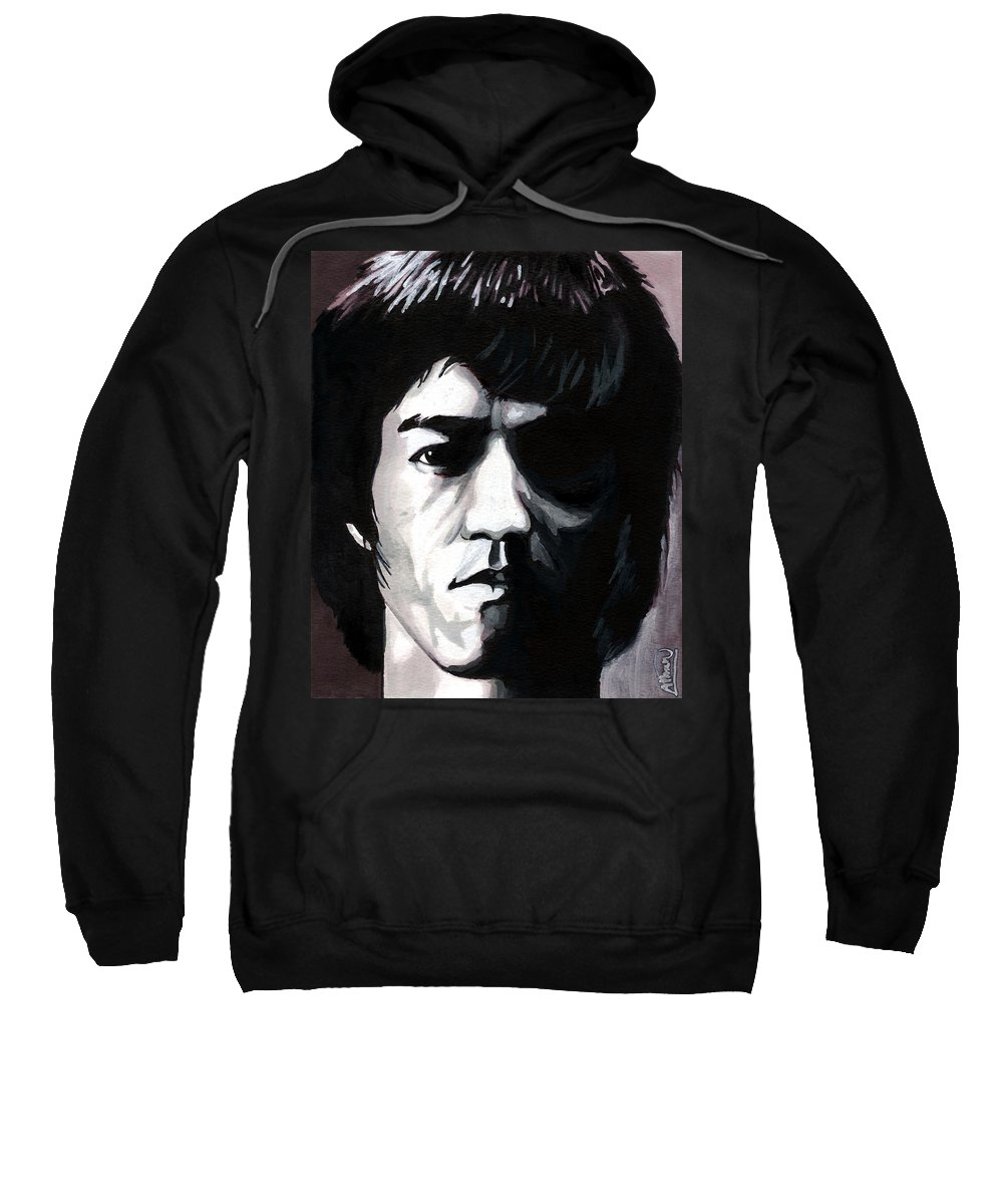 Bruce Lee Sweatshirt featuring the mixed media Bruce Lee Portrait by Alban Dizdari