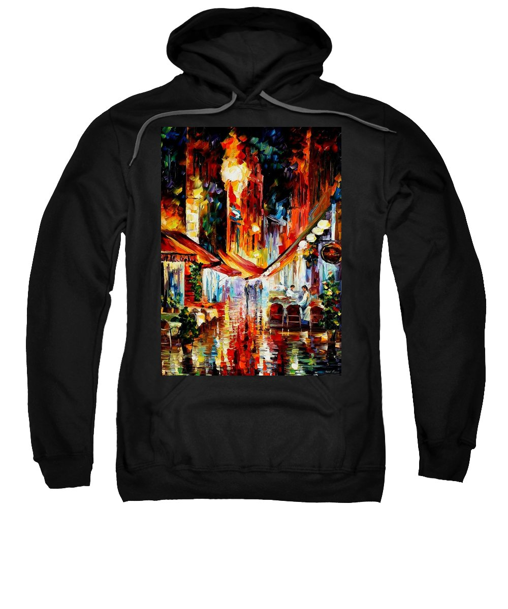 Afremov Sweatshirt featuring the painting Brussels - Before The Night Starts by Leonid Afremov