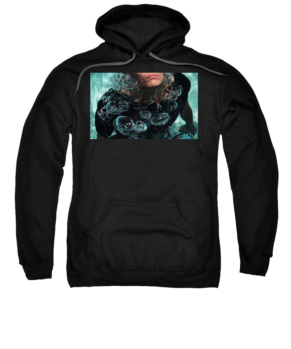 Diving Sweatshirt featuring the photograph Bubble Maker. Lady Diver by Jenny Rainbow