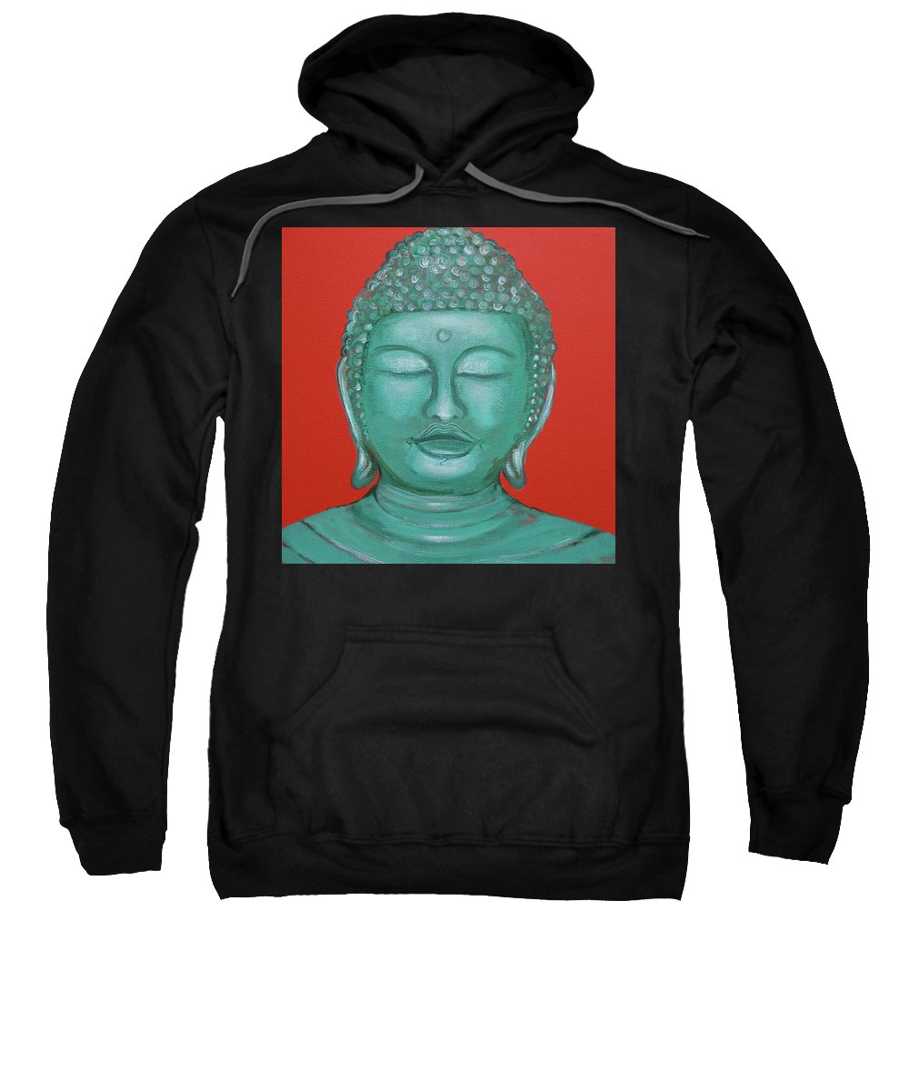 Buddah Sweatshirt featuring the painting Buddah I by Sue Wright