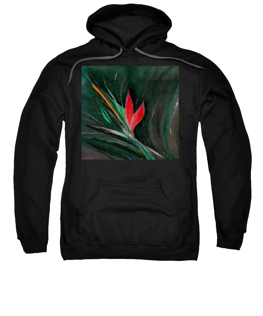 Flower Sweatshirt featuring the painting Budding by Anil Nene