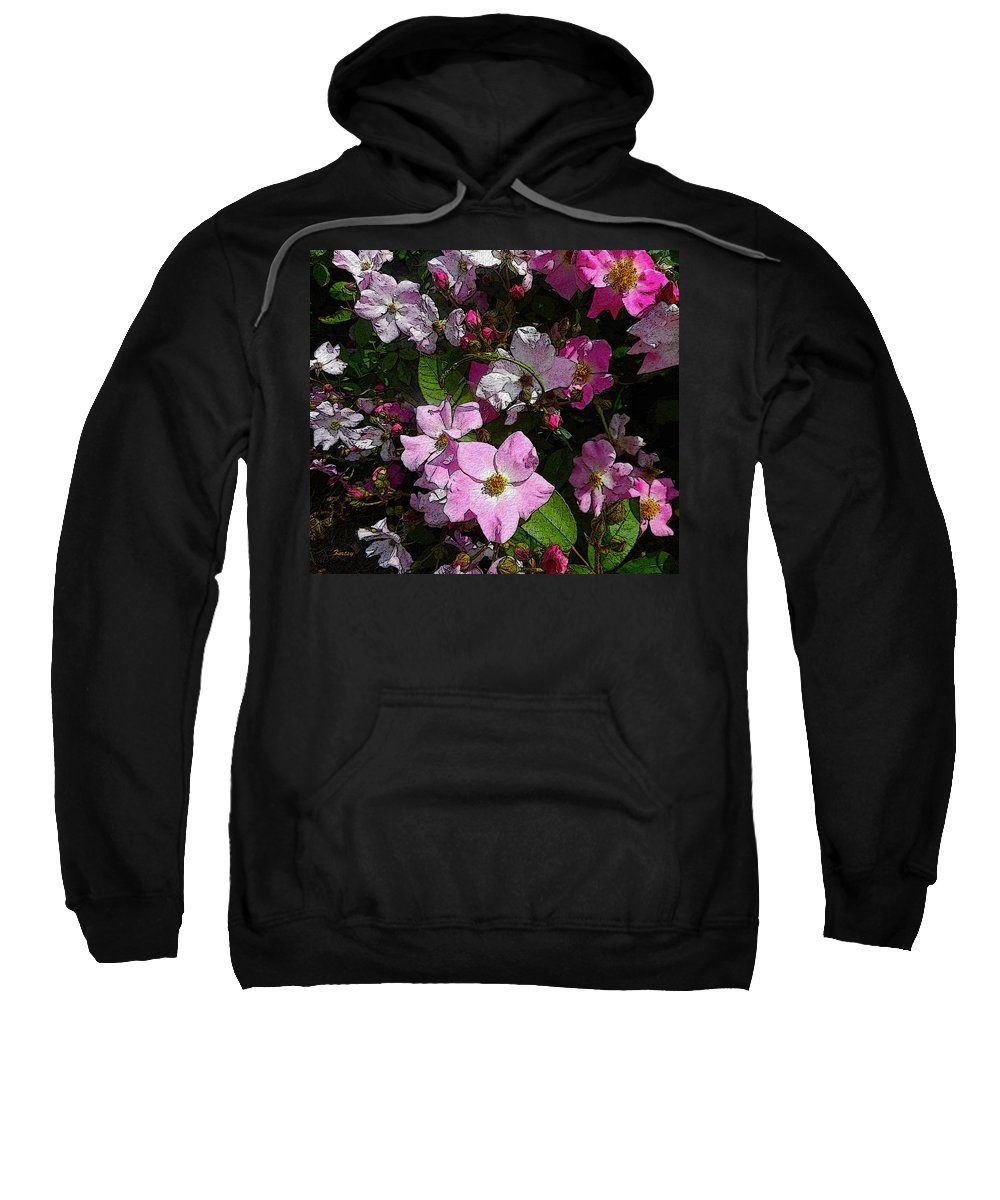 Roses Sweatshirt featuring the painting Buds And Petals- Pink Roses- Rose Bush- Floral Art by Kathy Symonds
