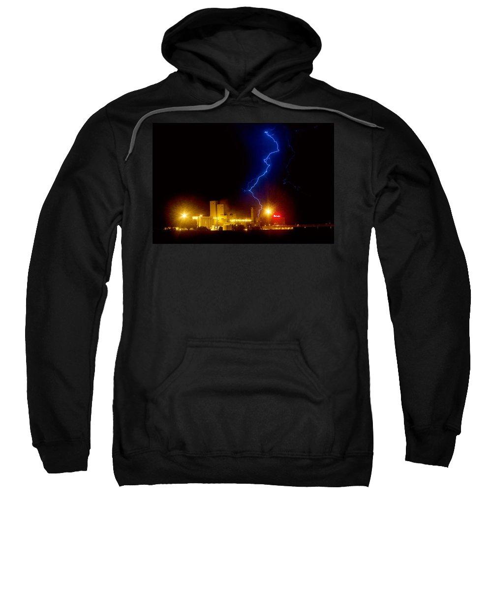 Budweiser Sweatshirt featuring the photograph Budweiser Lightning Strike by James BO Insogna