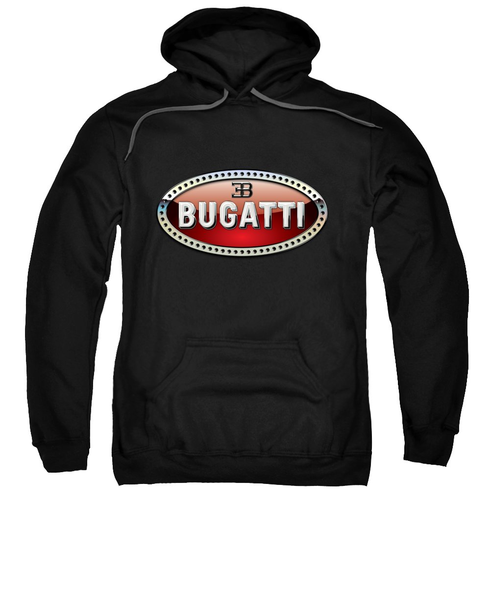 �wheels Of Fortune� Collection By Serge Averbukh Sweatshirt featuring the photograph Bugatti - 3 D Badge On Black by Serge Averbukh