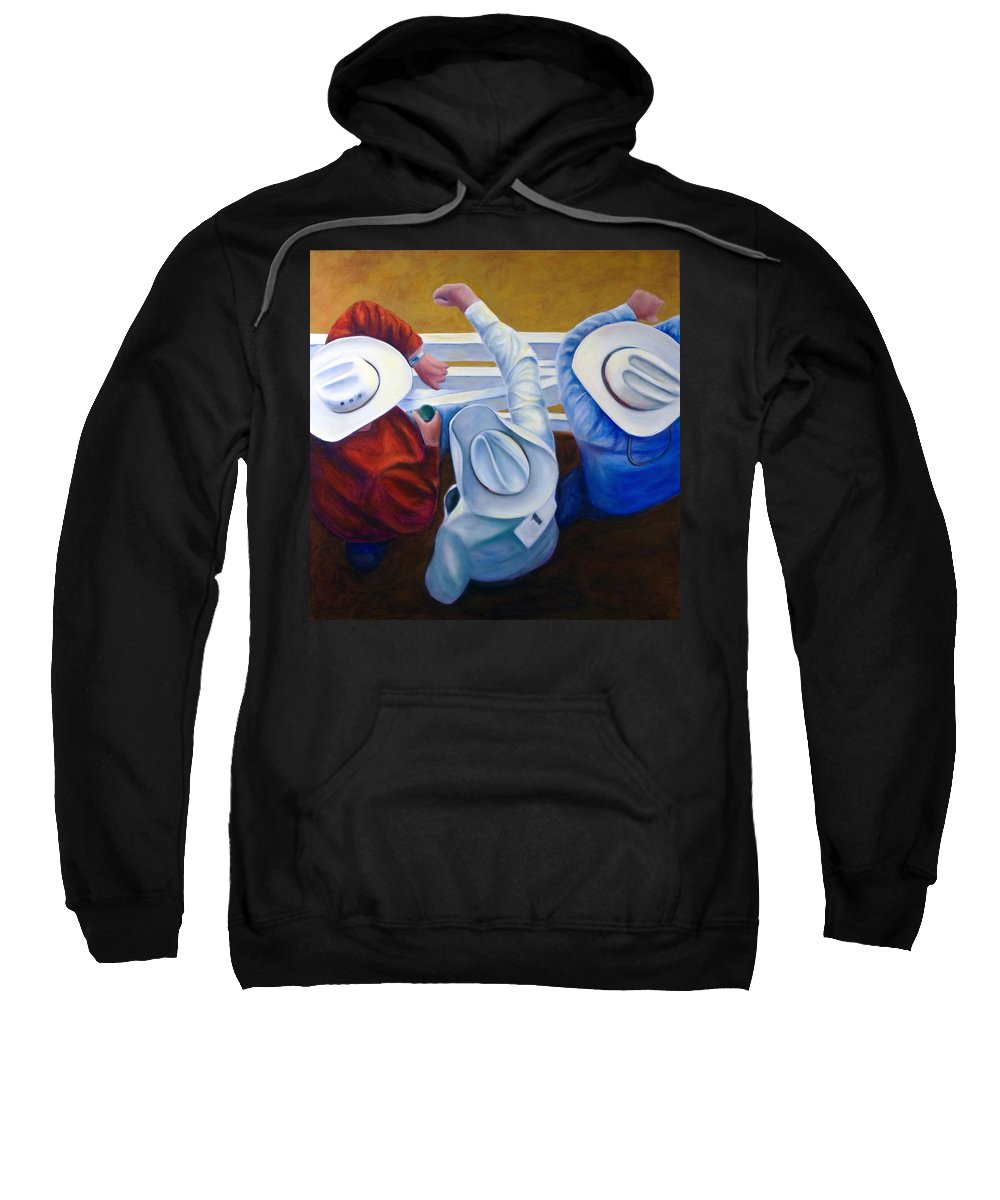 Western Sweatshirt featuring the painting Bull Chute by Shannon Grissom