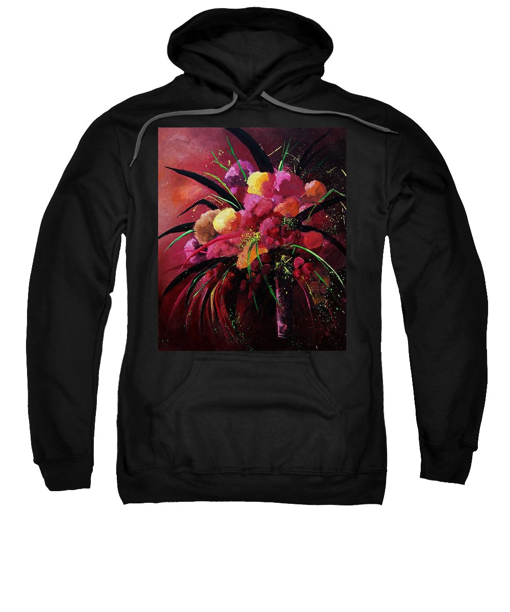 Flowers Sweatshirt featuring the painting Bunch Of Red Flowers by Pol Ledent