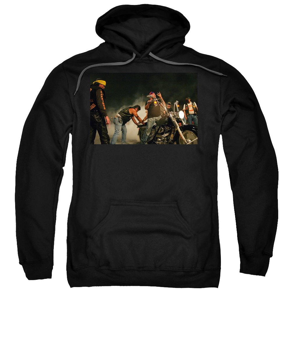 Biker Sweatshirt featuring the photograph Burn Out by Skip Hunt