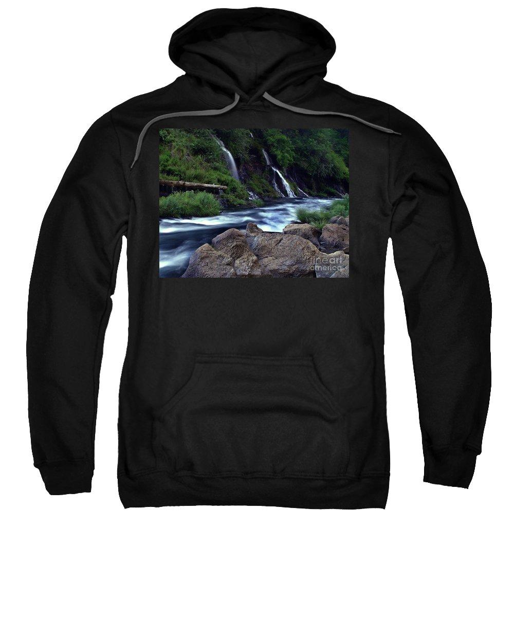 River Sweatshirt featuring the photograph Burney Falls Creek by Peter Piatt