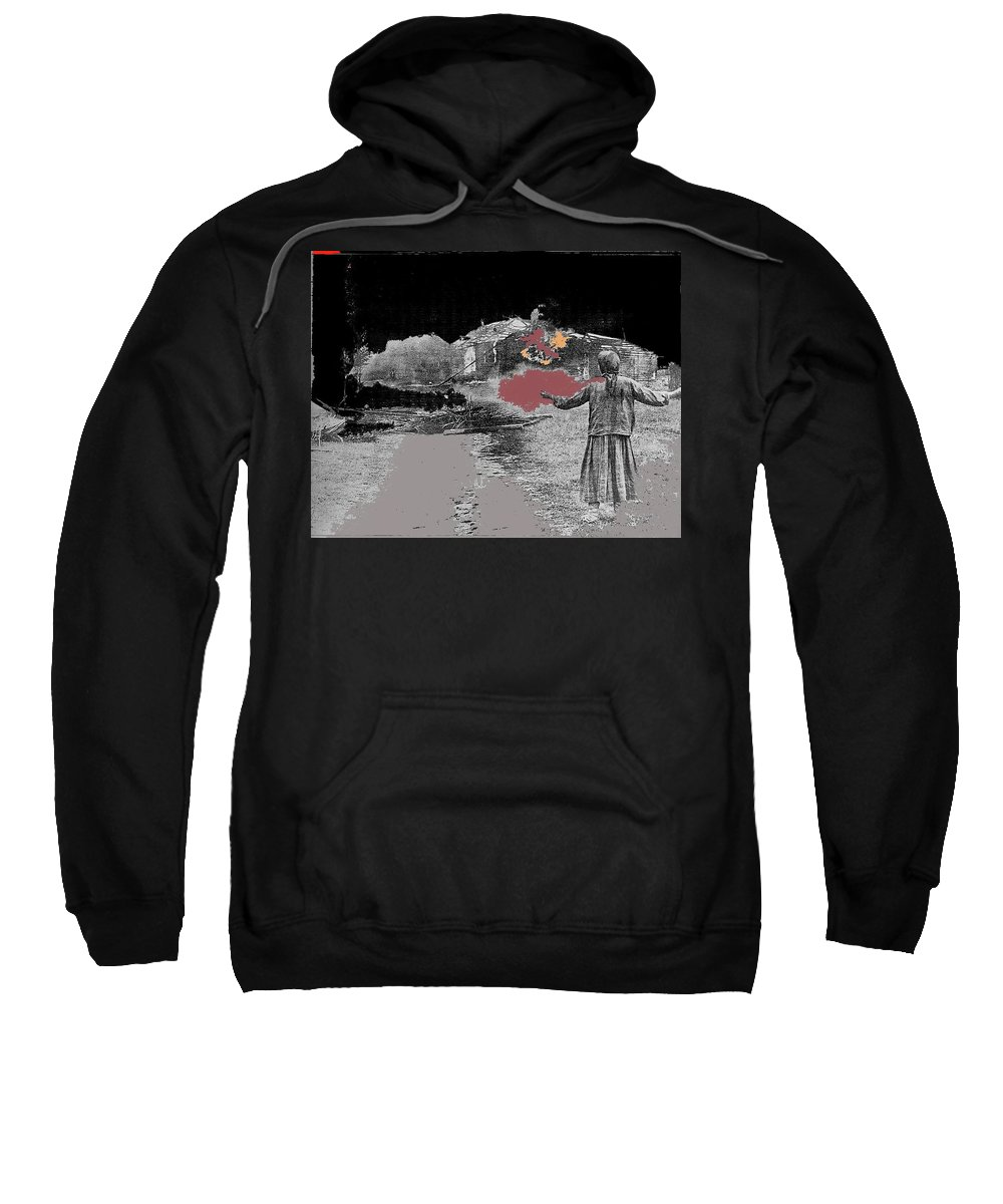 Burning House Destroyed By The Ss Soviet Union Number One 1941 Color Added 2016 Sweatshirt featuring the photograph Burning House Destroyed By The Ss Soviet Union Number One 1941 Color Added 2016 by David Lee Guss