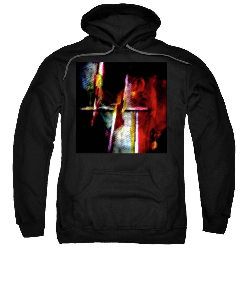Cross Sweatshirt featuring the painting Burning Legacy by Janice Nabors Raiteri
