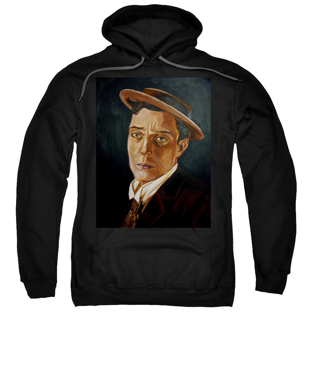 Comedy Sweatshirt featuring the painting Buster Keaton Tribute by Bryan Bustard