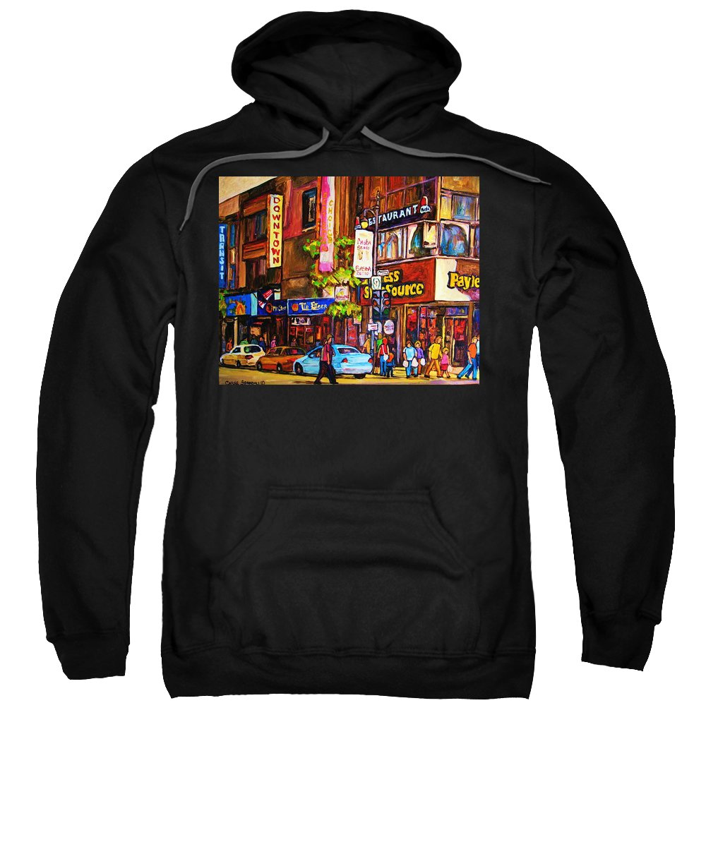 Cityscape Sweatshirt featuring the painting Busy Downtown Street by Carole Spandau