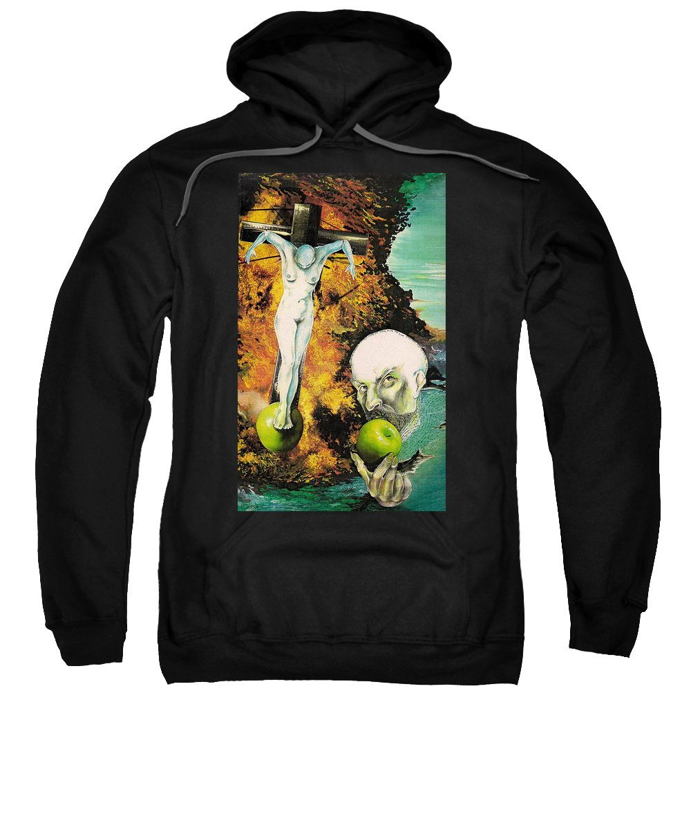 Lust Temptation Crucifix Hell Inferno Heaven Water Woman Sex Lust Apple Fire Sweatshirt featuring the mixed media But For Lust... by Veronica Jackson