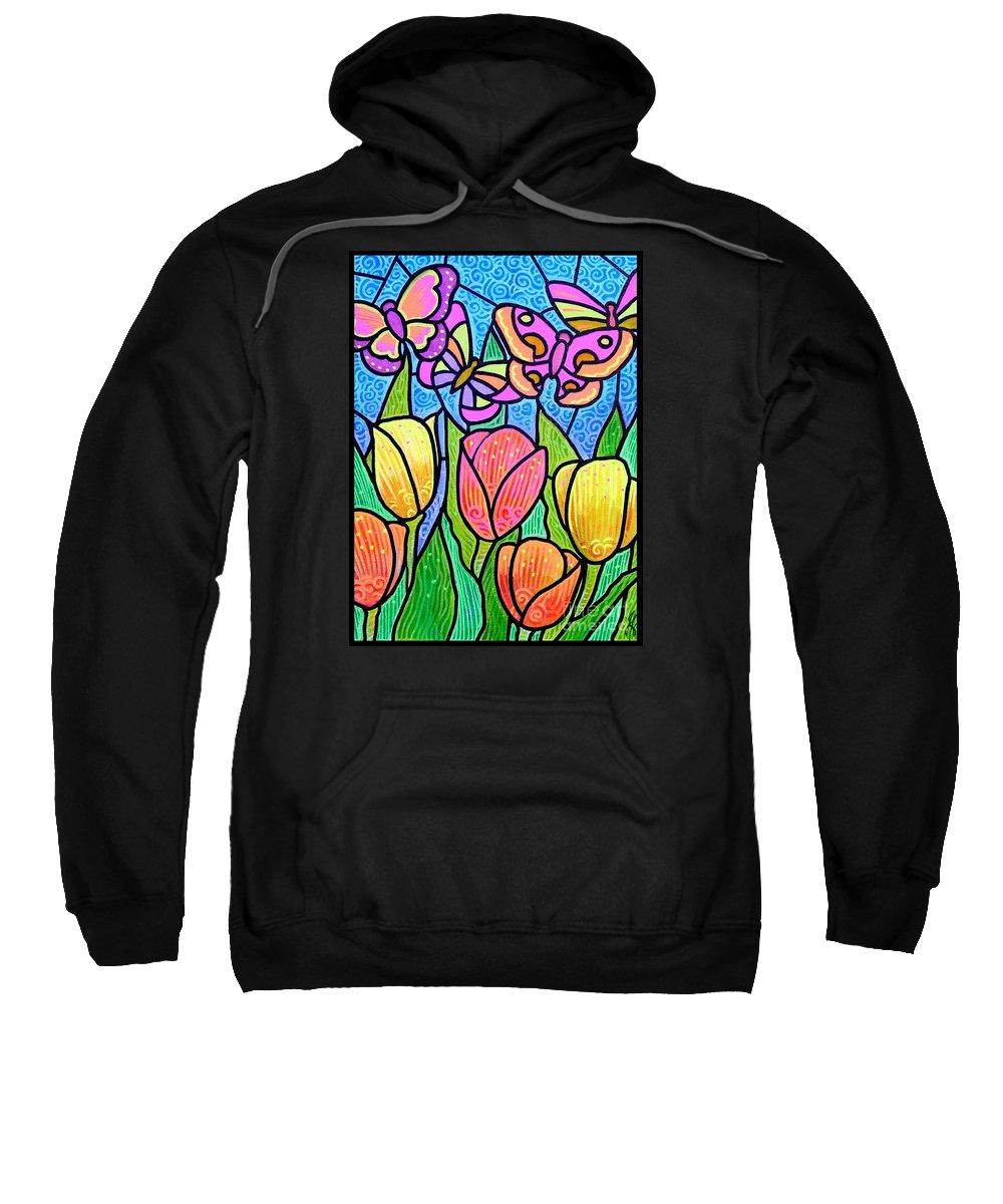 Butterflies Sweatshirt featuring the painting Butterflies In The Tulip Garden by Jim Harris