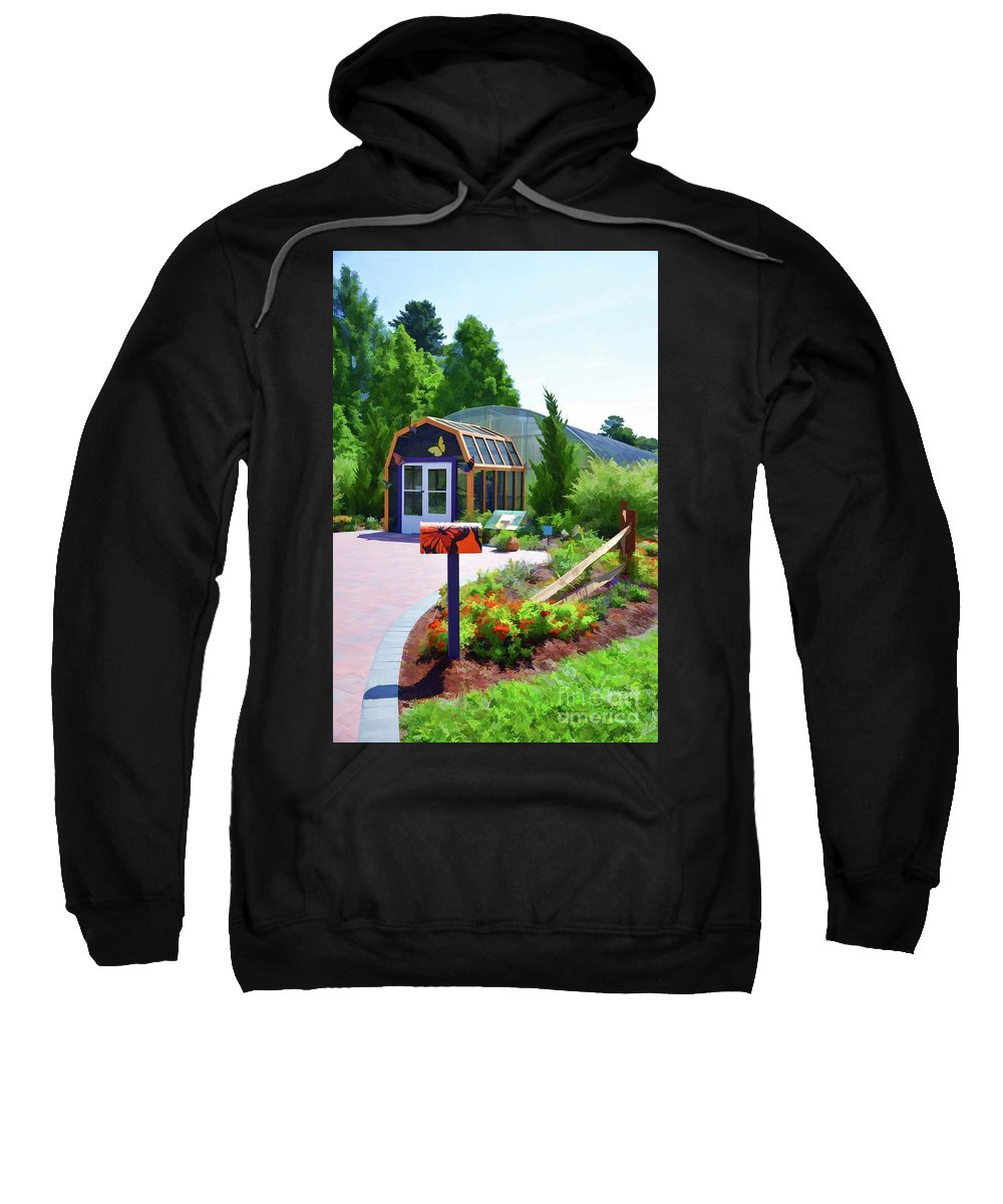 Architecture Sweatshirt featuring the painting Butterfly House 1 by Jeelan Clark