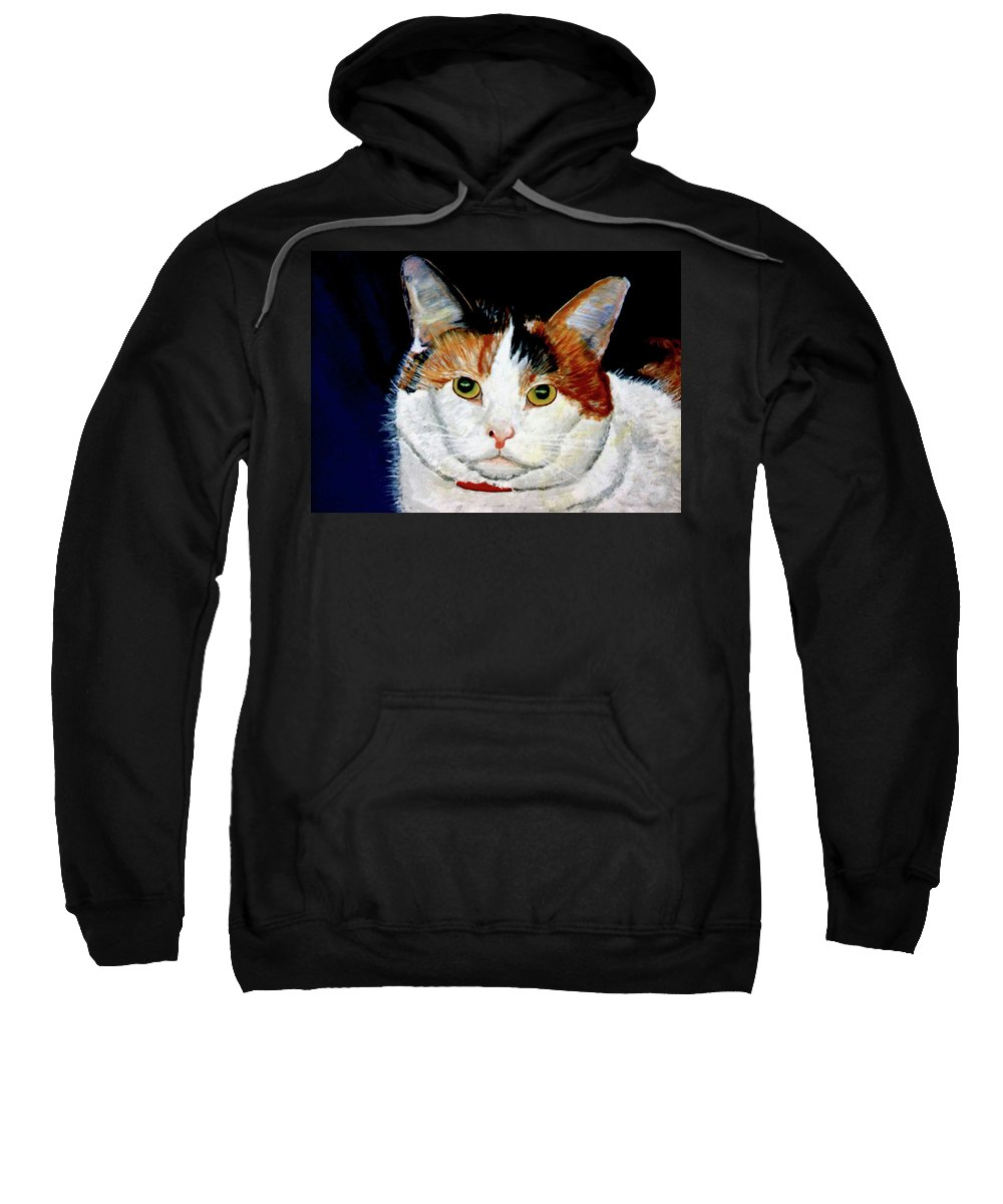 Cat Sweatshirt featuring the painting Buttons by Stan Hamilton