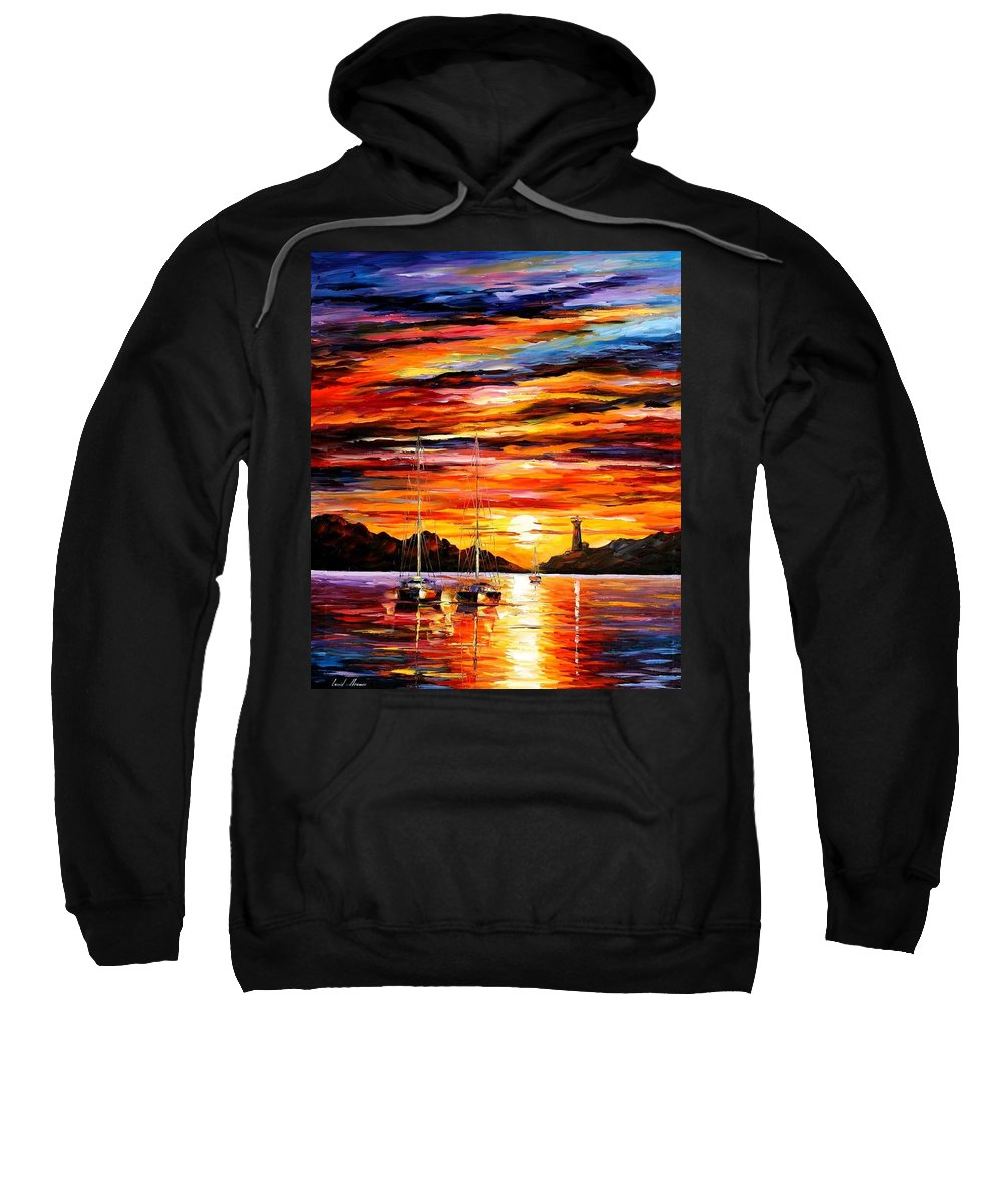 Afremov Sweatshirt featuring the painting By The Entrance To The Harbor by Leonid Afremov
