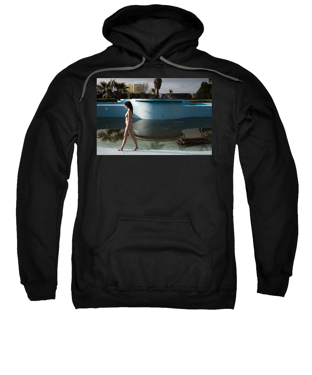 Nudes Sweatshirt featuring the photograph By The Old Pool by Olivier De Rycke