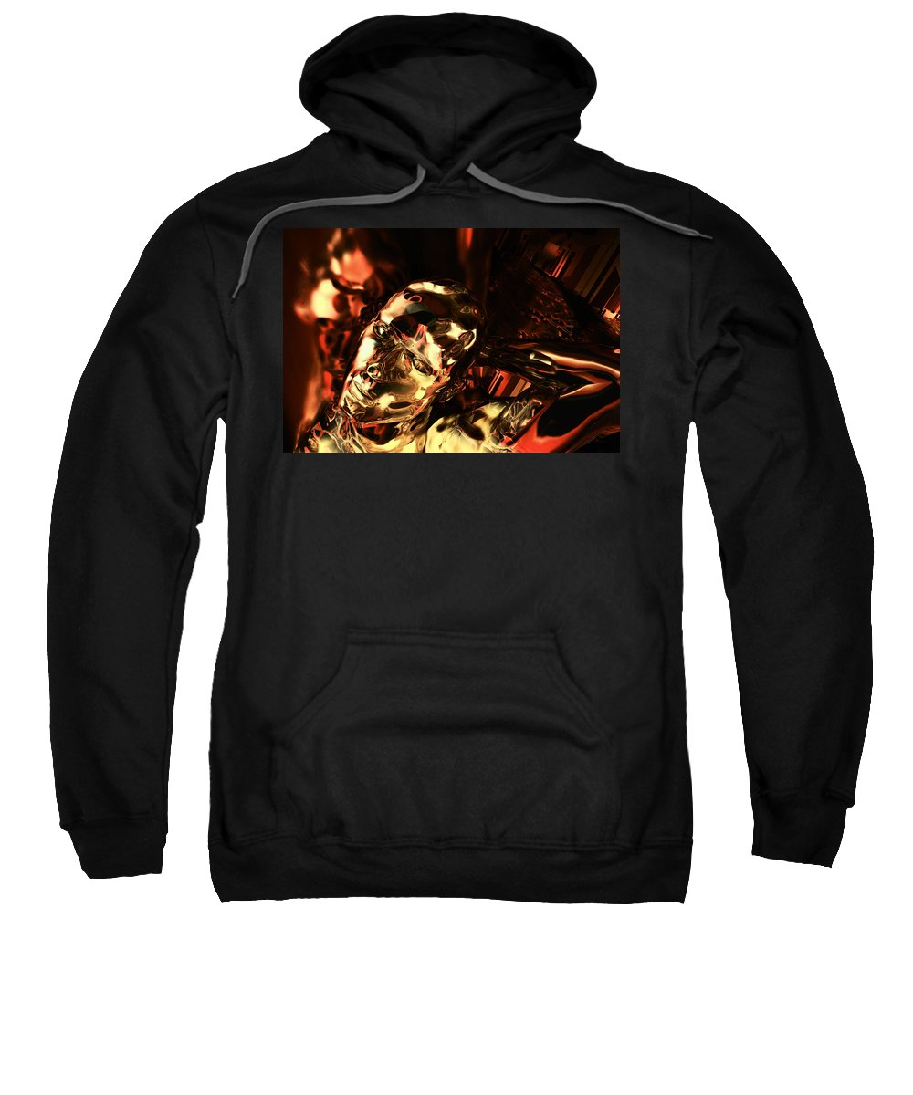 Android Sweatshirt featuring the digital art The Thinking Golden Robot by Max Steinwald