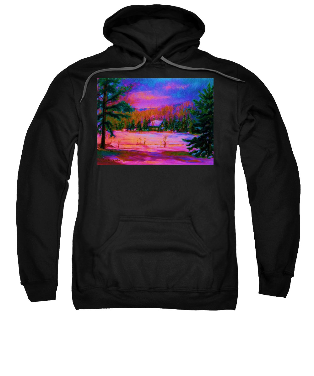 Winterscenes Sweatshirt featuring the painting Cabin In The Woods by Carole Spandau
