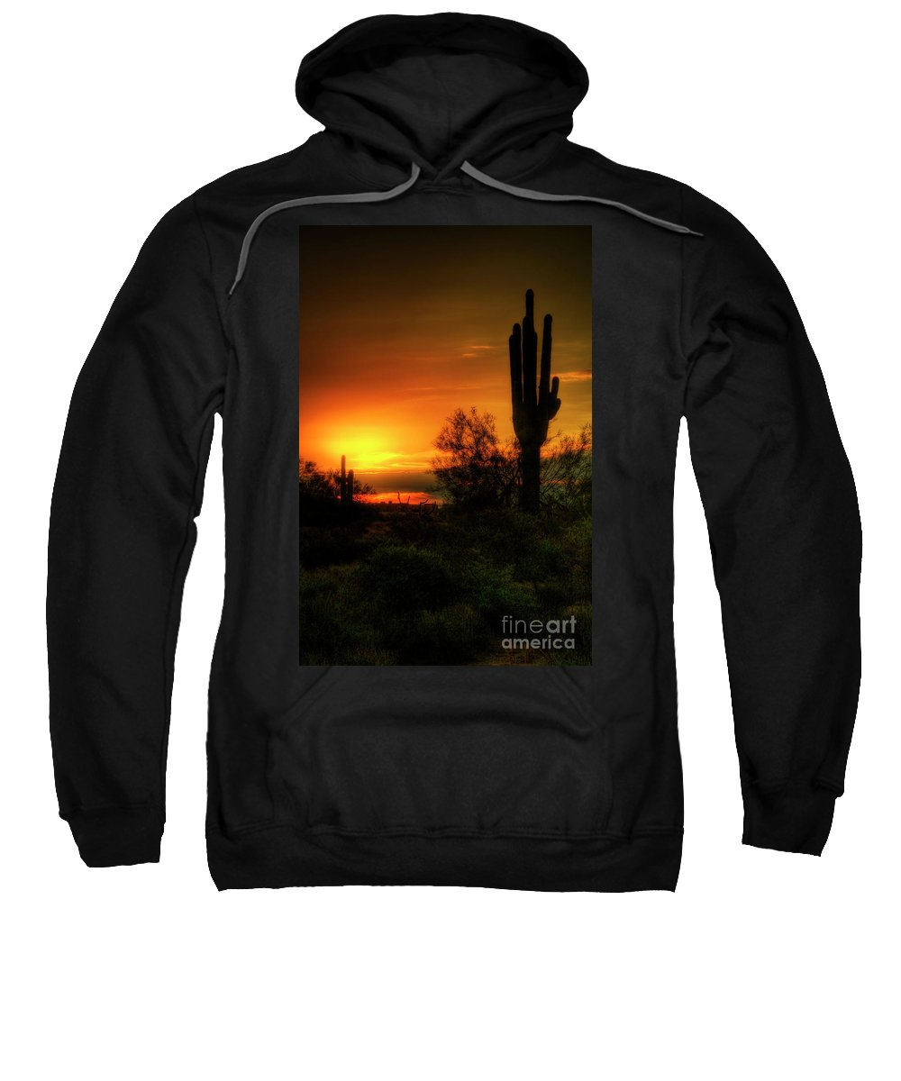 Arizona Sweatshirt featuring the photograph Cactus Sunrise by Saija Lehtonen