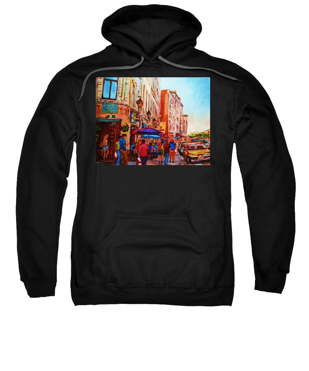Montreal Sweatshirt featuring the painting Cafe Creme by Carole Spandau