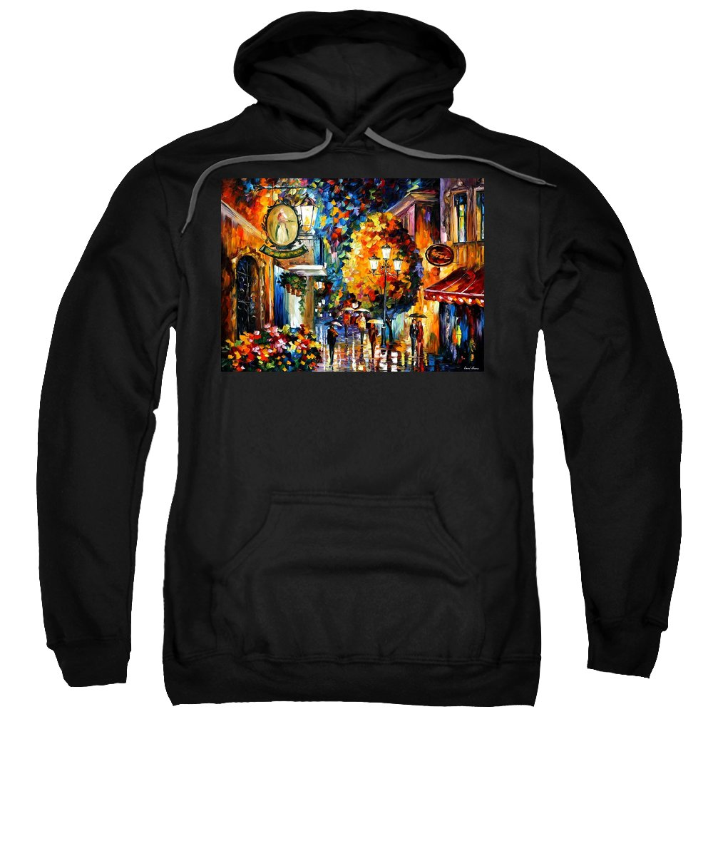 Afremov Sweatshirt featuring the painting Cafe In The Old City by Leonid Afremov