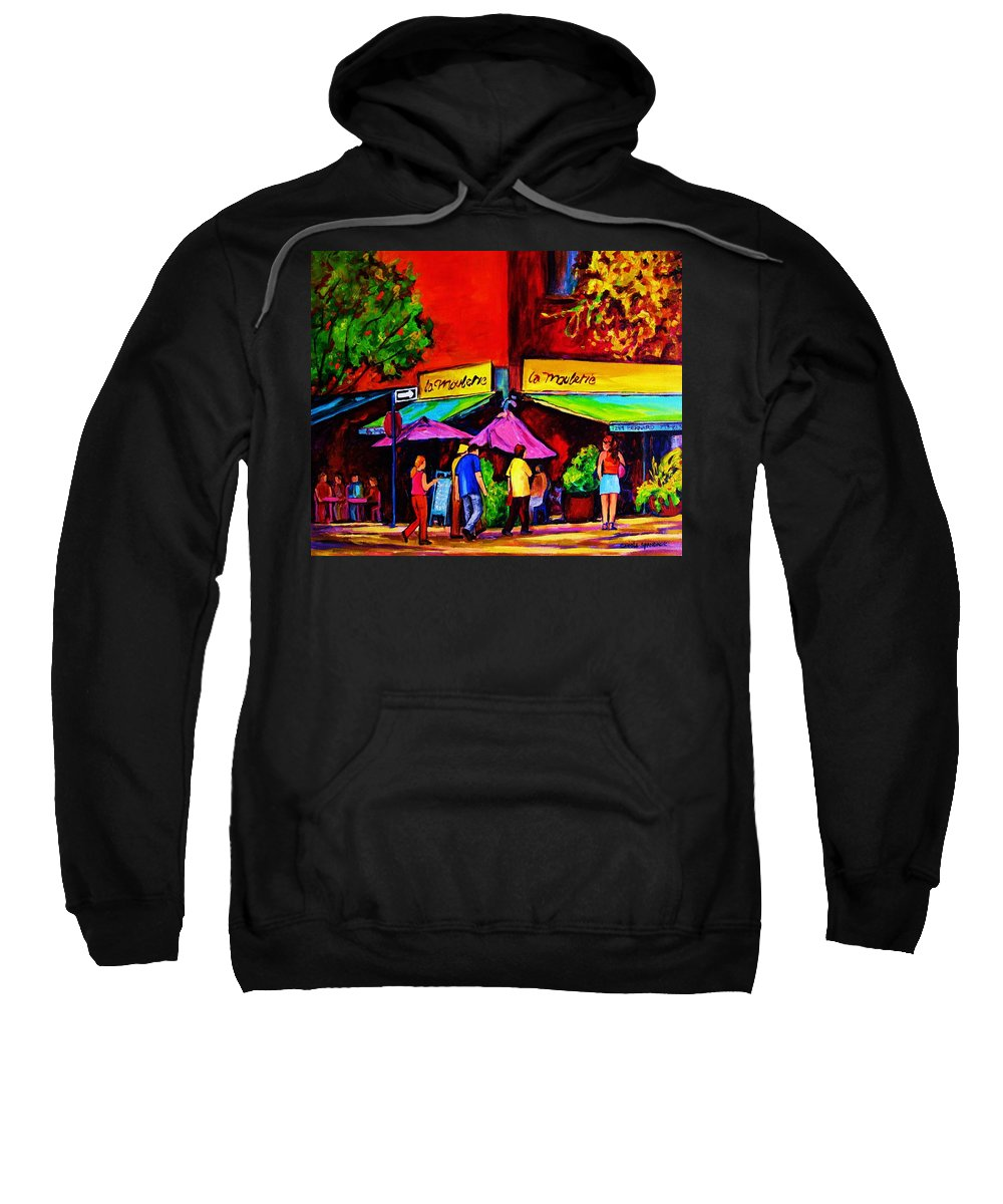Cafe Scenes Sweatshirt featuring the painting Cafe La Moulerie On Bernard by Carole Spandau