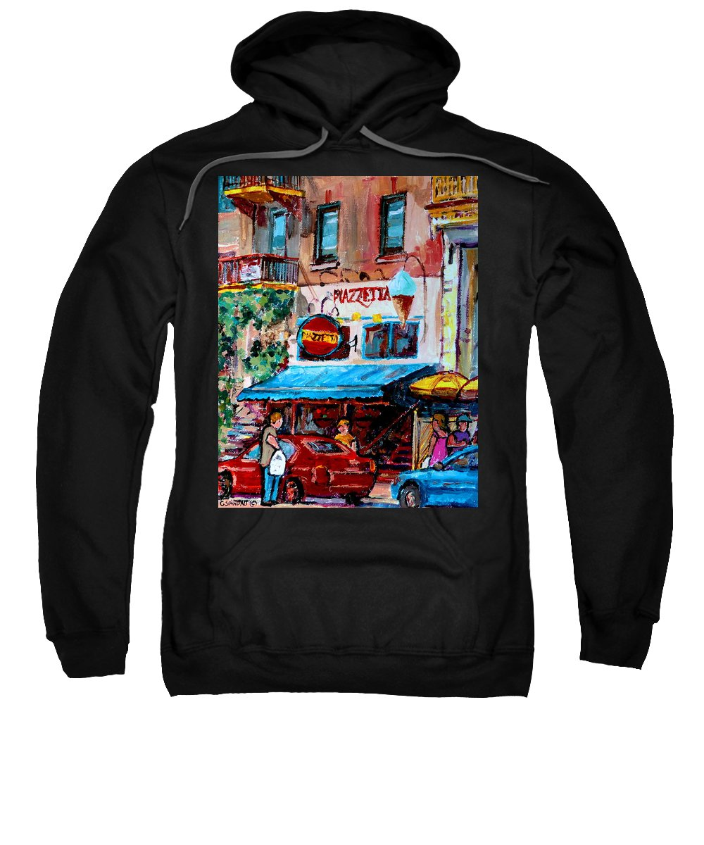 Cafes On St Denis Paris Cafes Sweatshirt featuring the painting Cafe Piazzetta St Denis by Carole Spandau