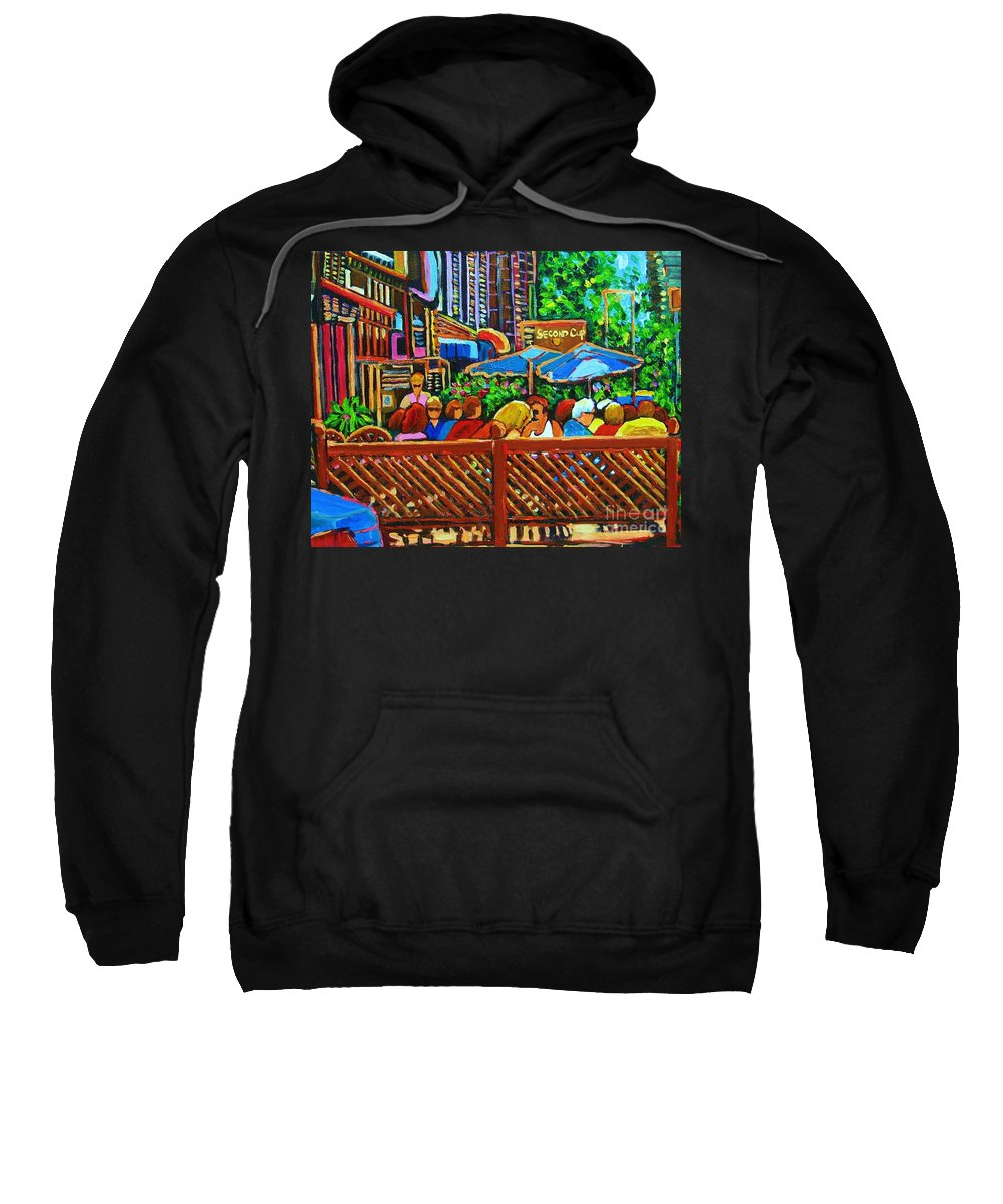 Cafes Sweatshirt featuring the painting Cafe Second Cup by Carole Spandau