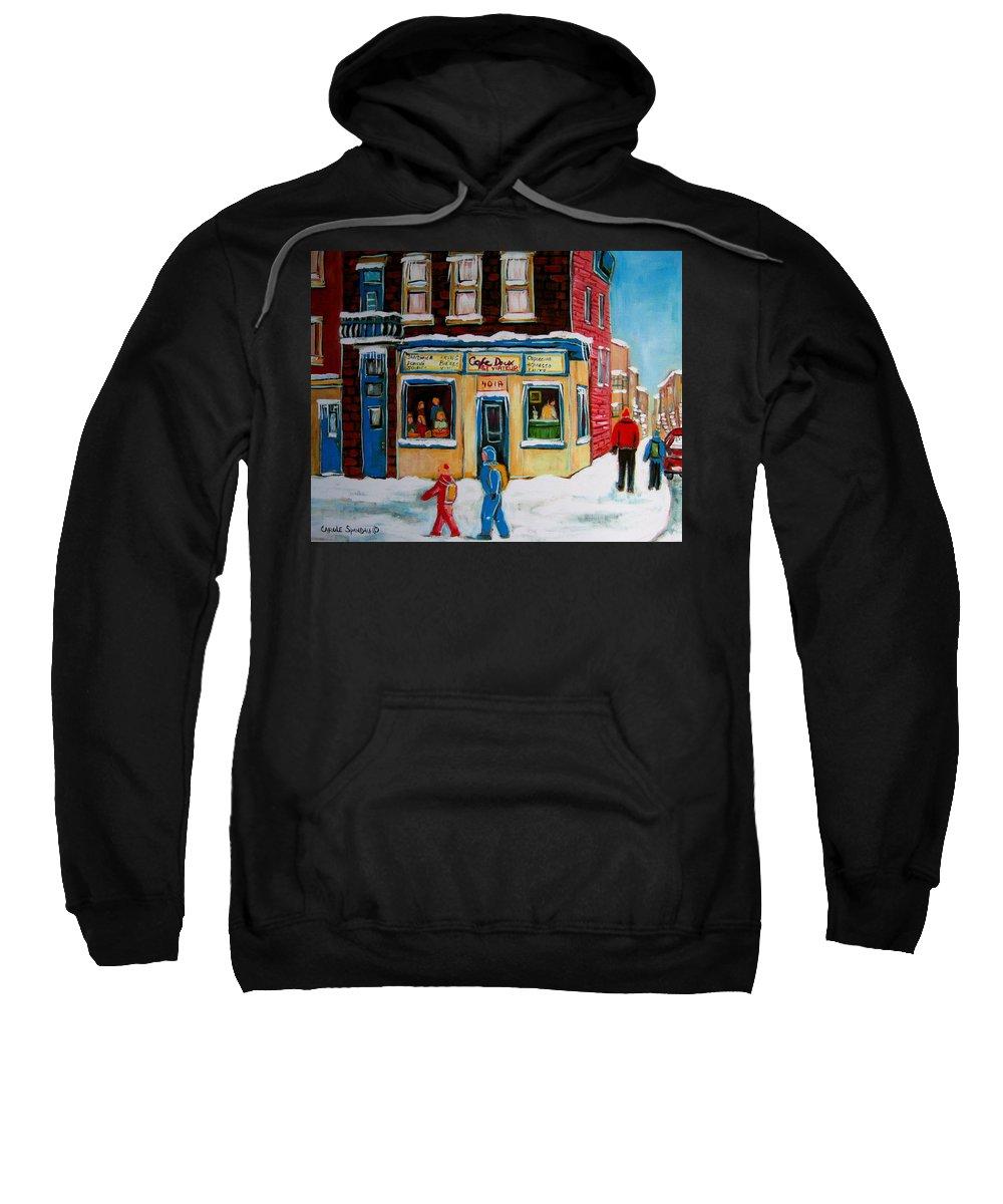 Cafe St. Viateur Montreal Sweatshirt featuring the painting Cafe St. Viateur Montreal by Carole Spandau