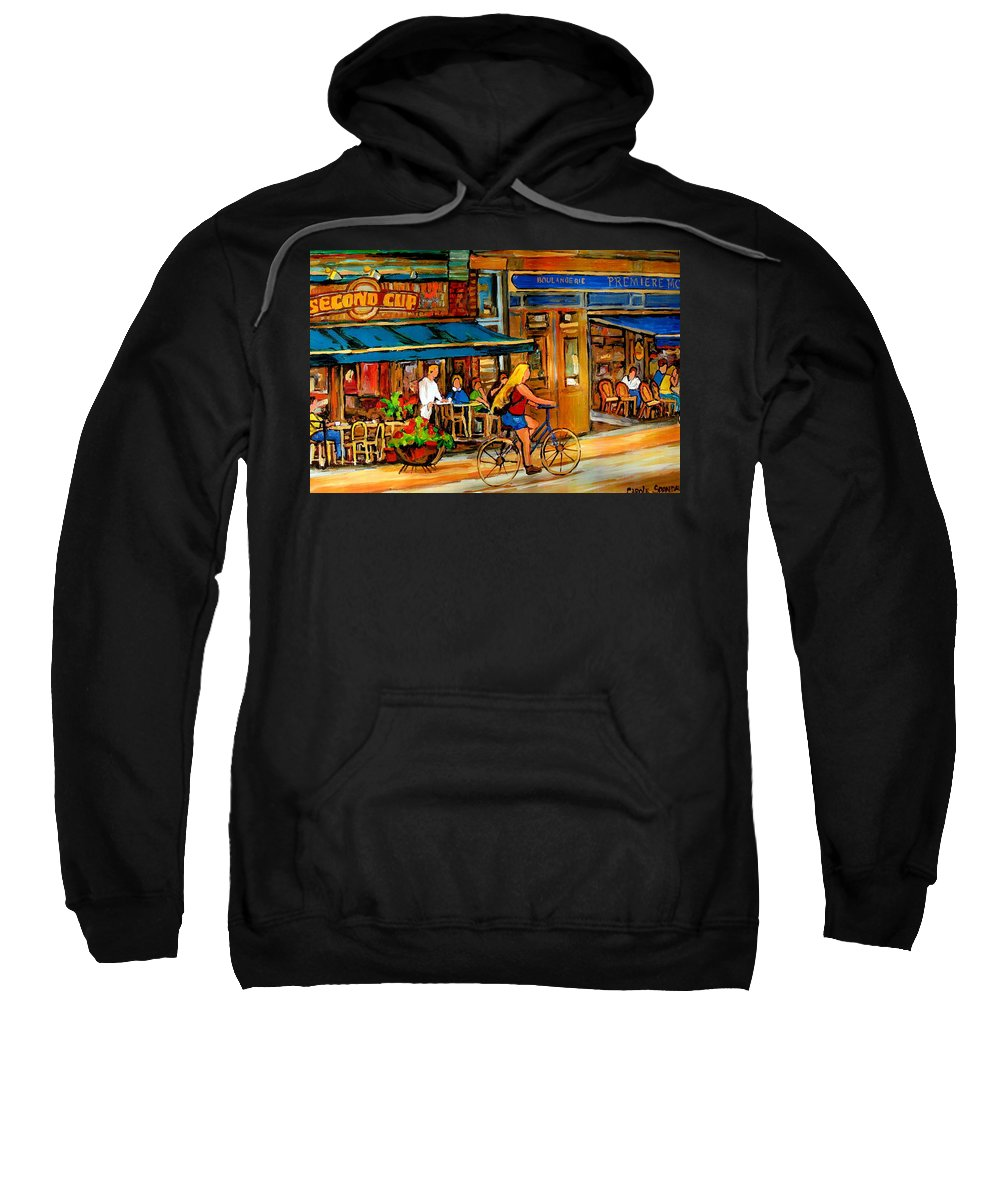 Cafes Sweatshirt featuring the painting Cafes With Blue Awnings by Carole Spandau
