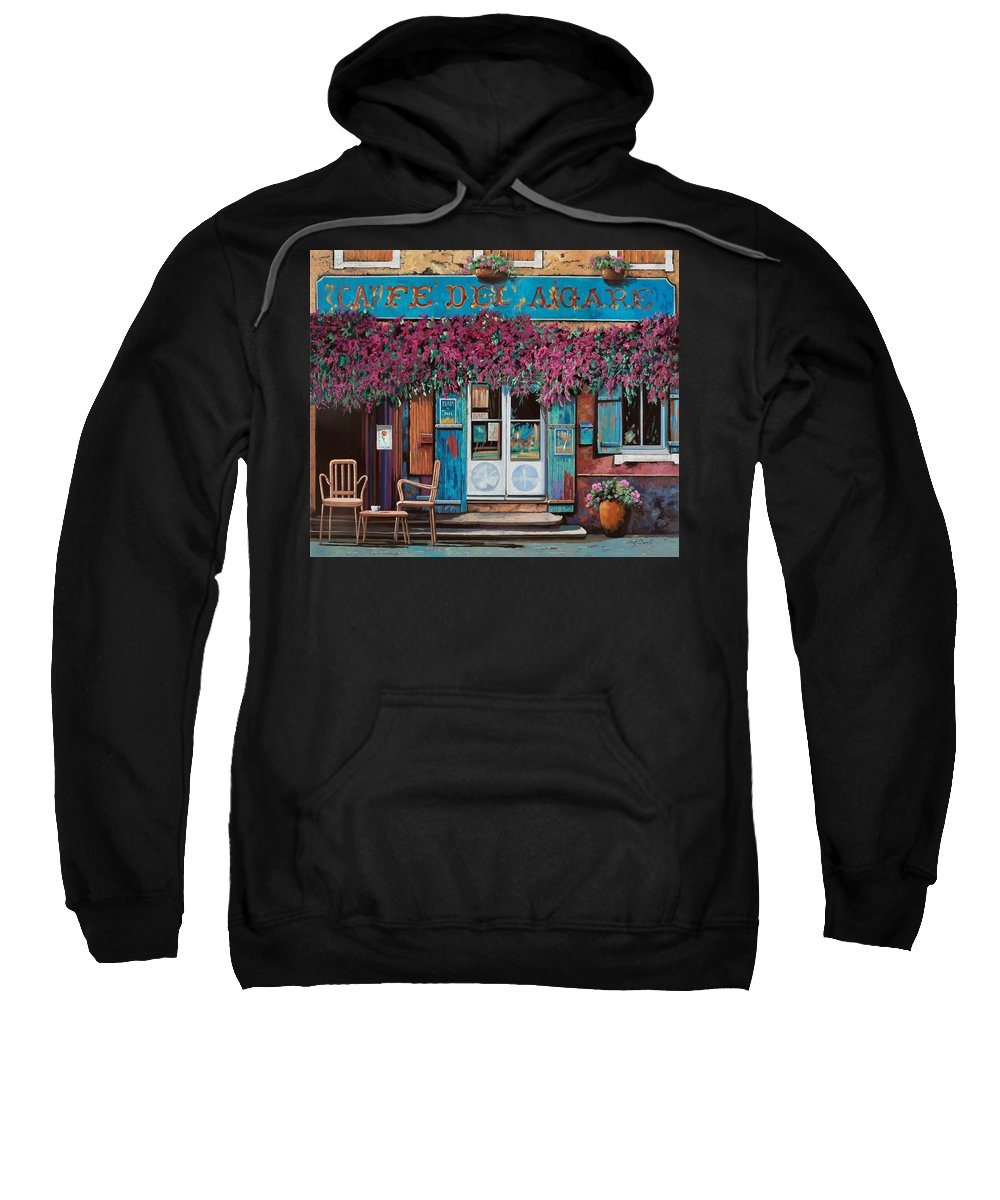 Caffe' Sweatshirt featuring the painting caffe del Aigare by Guido Borelli