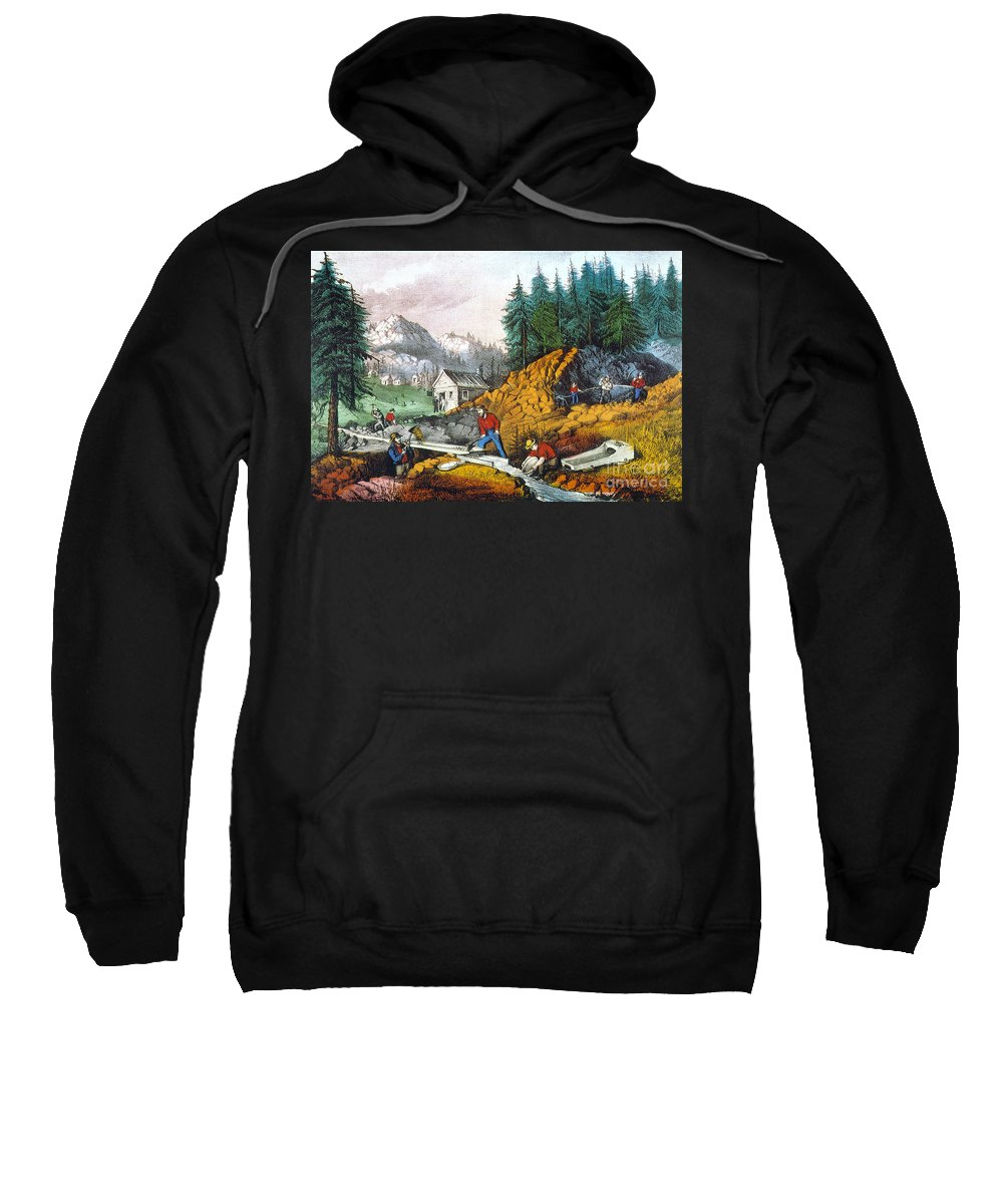 1871 Sweatshirt featuring the photograph California: Gold Mining by Granger