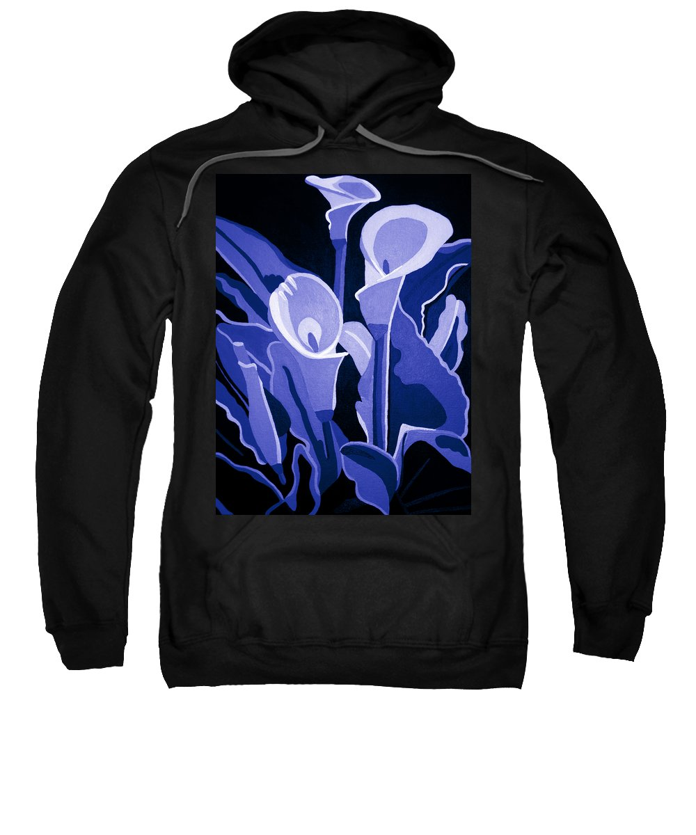 Abstract Sweatshirt featuring the painting Calla Lilies Royal by Angelina Vick