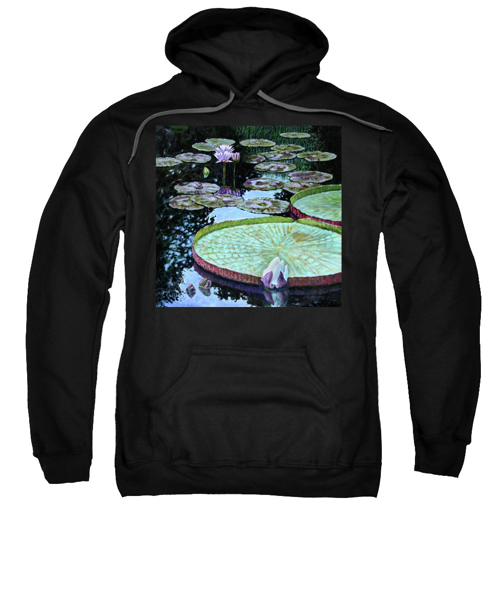 Water Lilies Sweatshirt featuring the painting Calm Reflections by John Lautermilch