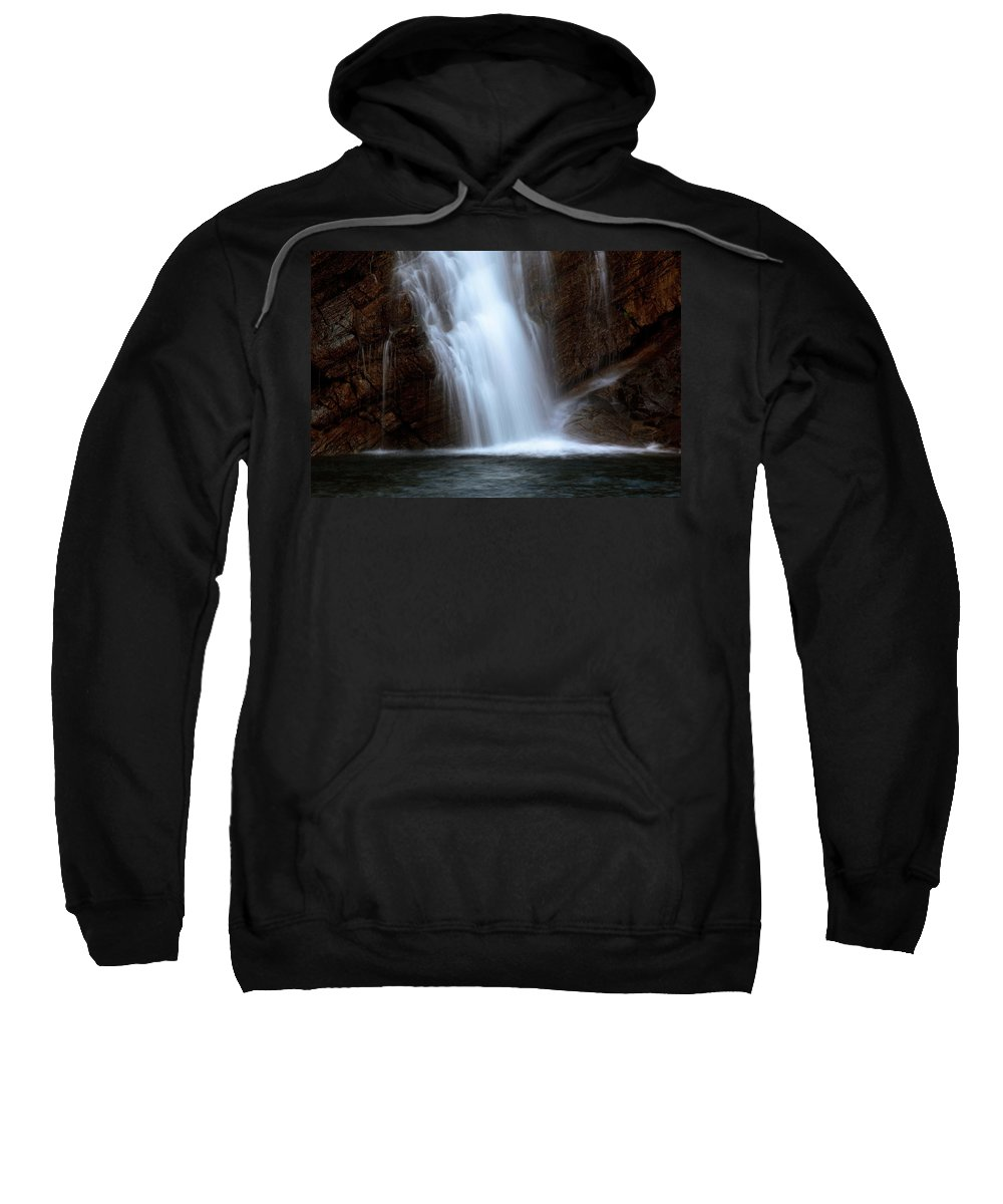 Cameron Falls Sweatshirt featuring the digital art Cameron Falls In Waterton Lakes National Park Of Alberta by Mark Duffy