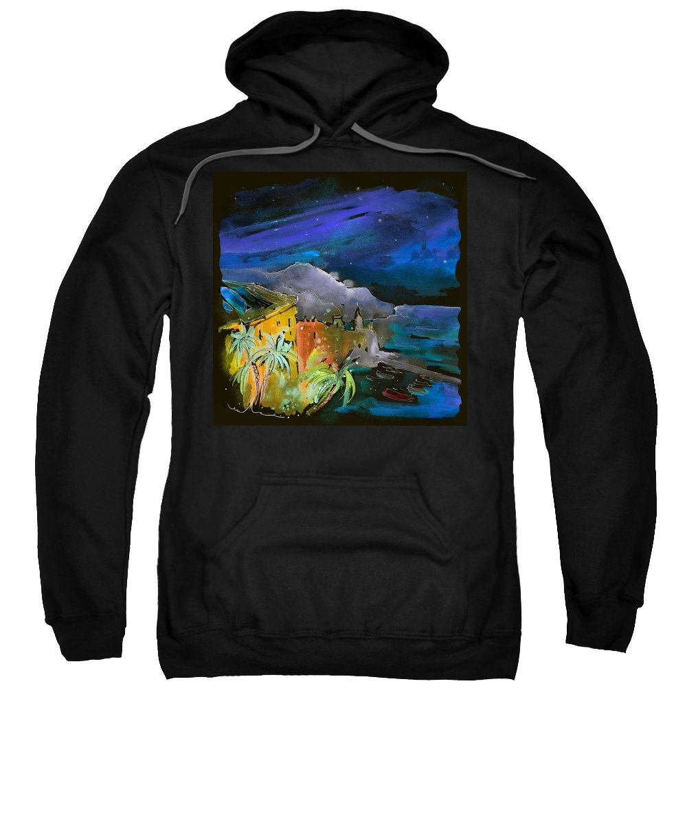 Italy Sweatshirt featuring the painting Camogli By Night In Italy by Miki De Goodaboom
