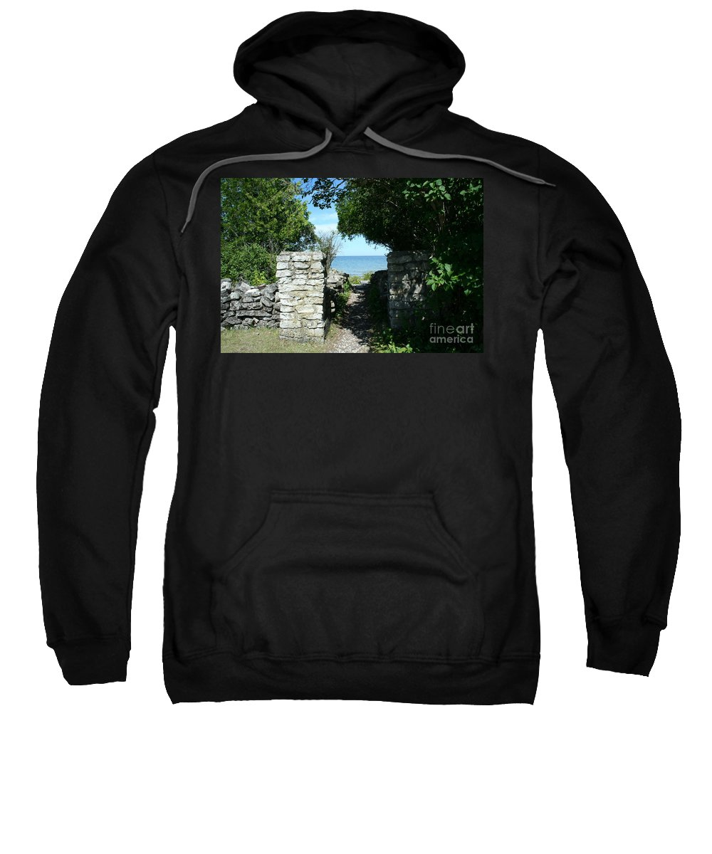 Cana Island Sweatshirt featuring the mixed media Cana Island Walkway Wi by Tommy Anderson