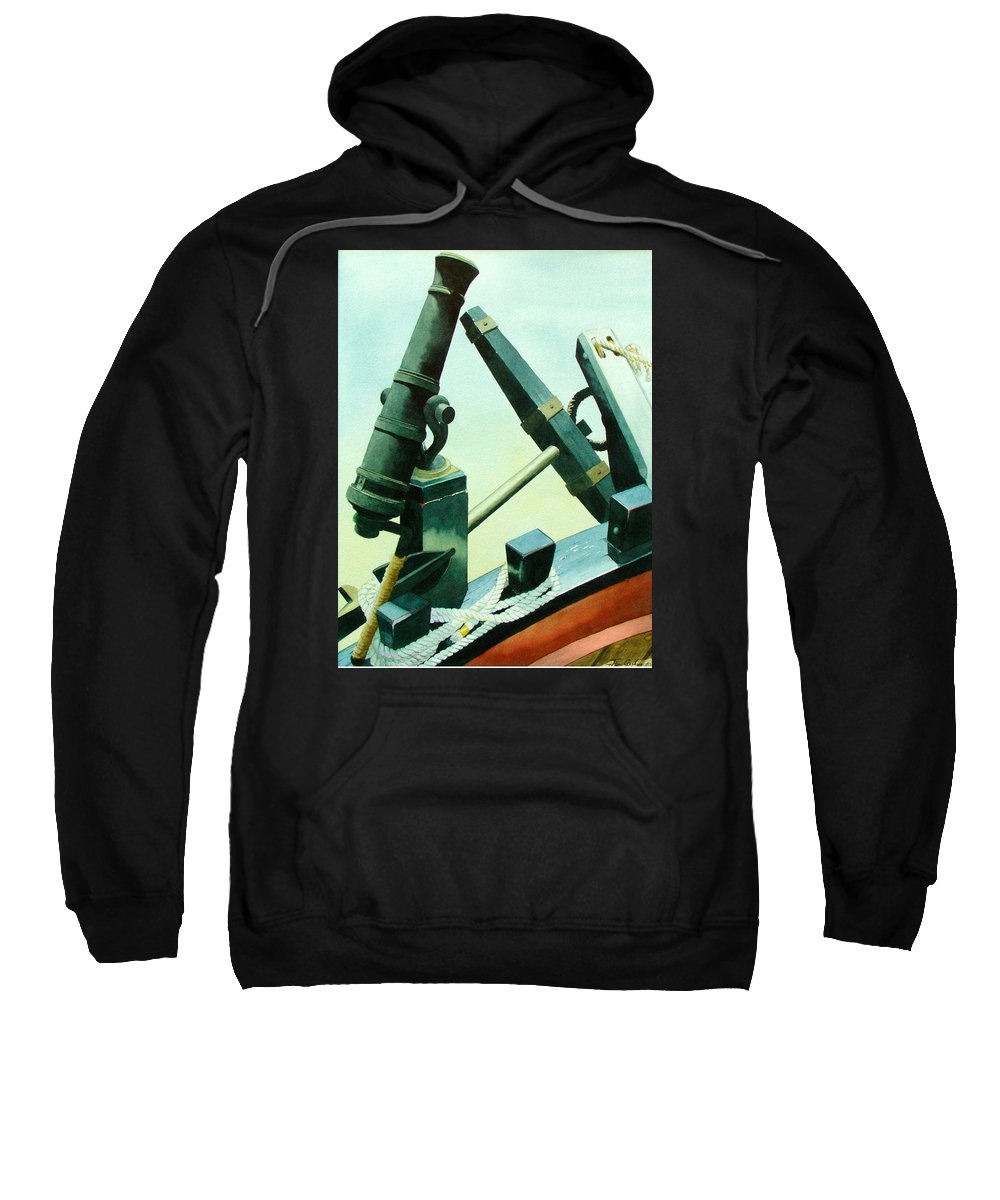 Guns Sweatshirt featuring the painting Cannon And Anchor by Jim Gerkin