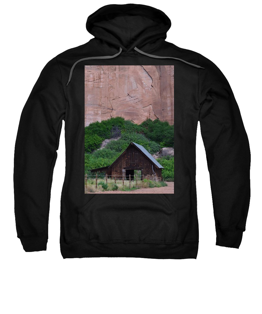 Barns;red Rock Sweatshirt featuring the photograph Canyon Barn by Peter Hennessey