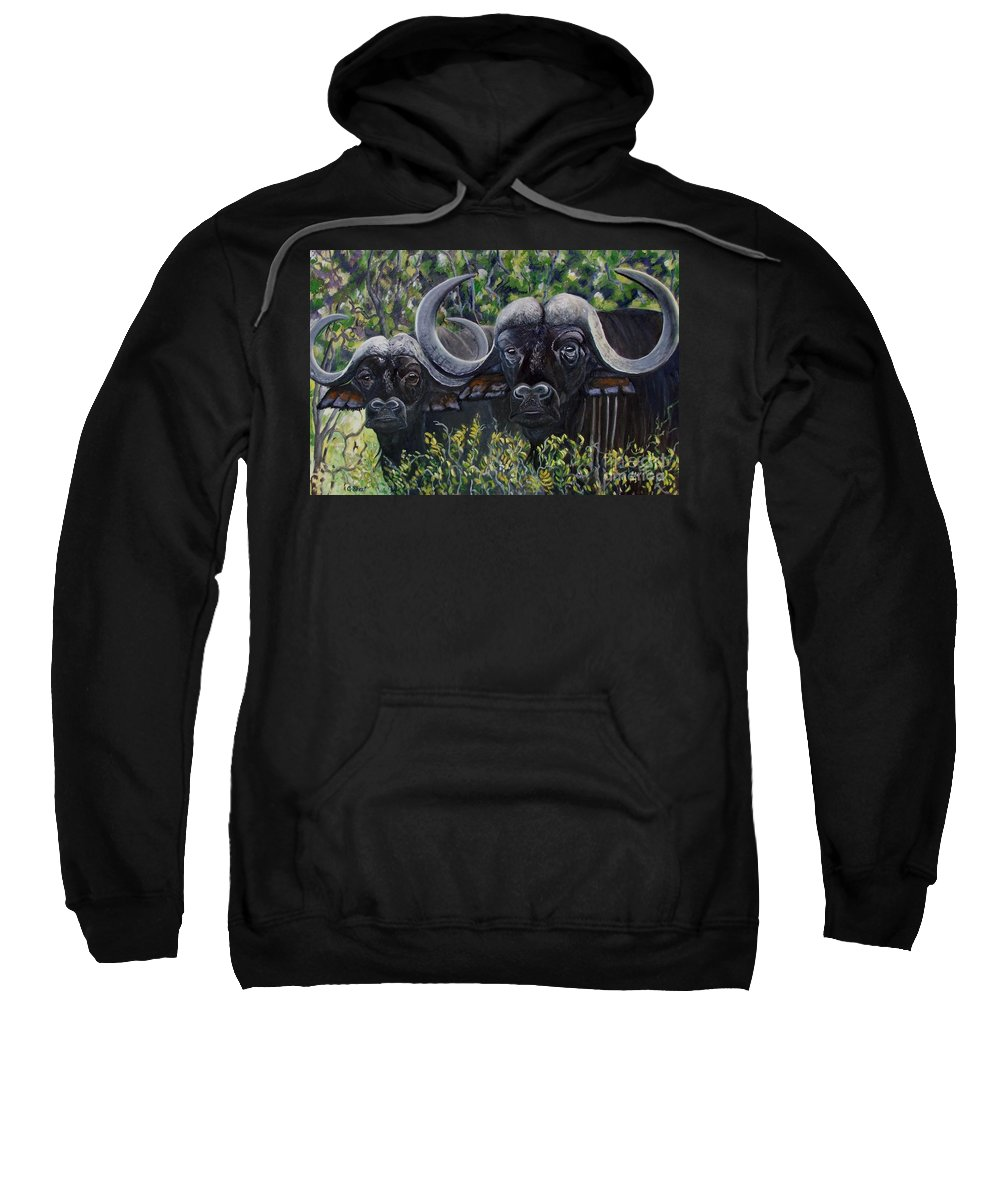 Buffalo Sweatshirt featuring the painting Cape Buffalo First Painting by Caroline Street