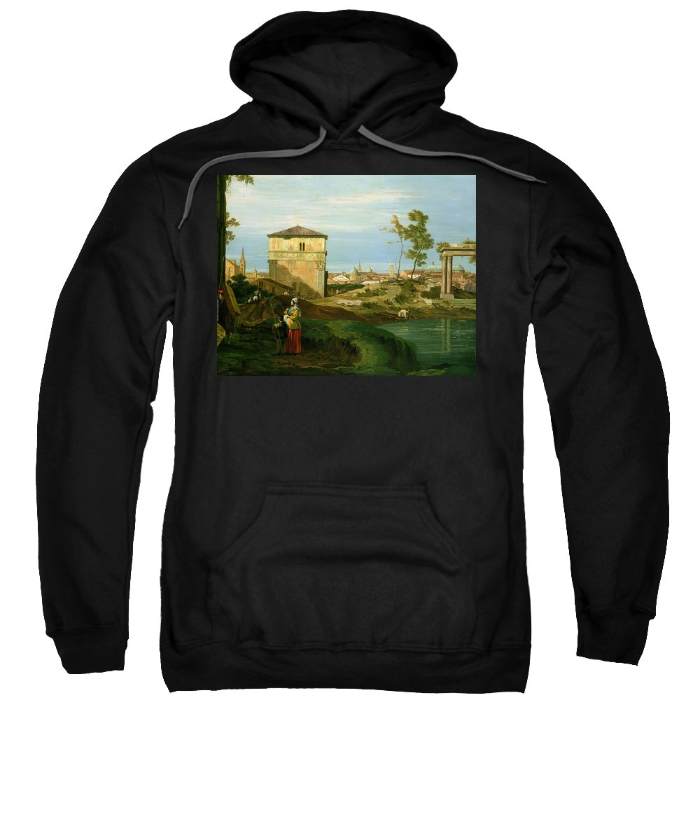 Canaletto Sweatshirt featuring the painting Capriccio With Motifs From Padua by Canaletto