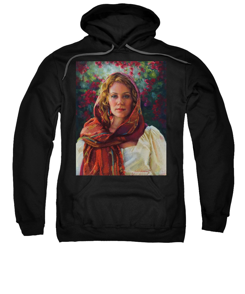 Woman Sweatshirt featuring the painting Captivated by Jean Hildebrant